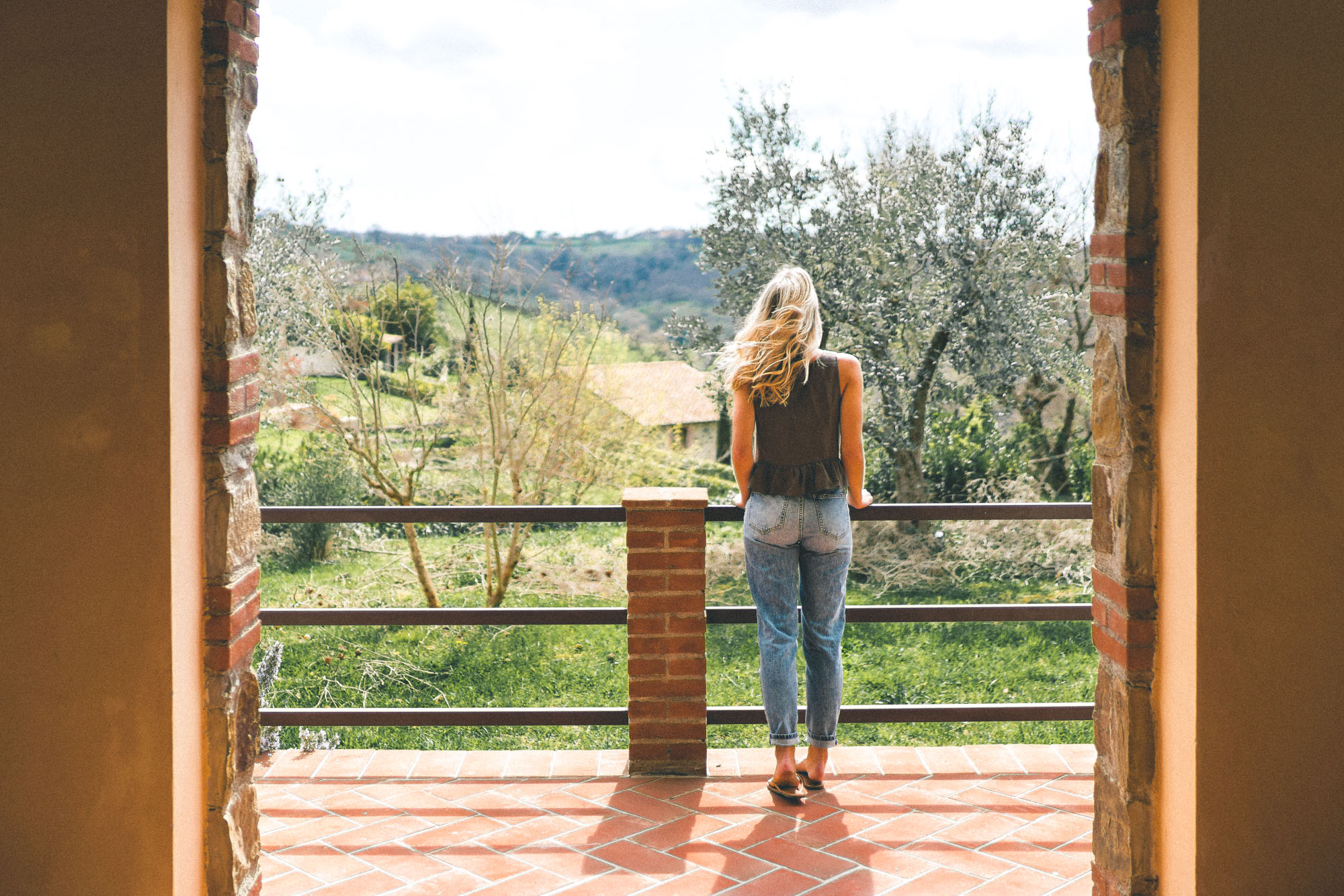 Balcony views at our tuscan villa Borgo Case Bardi in southern Tuscany, Italy
