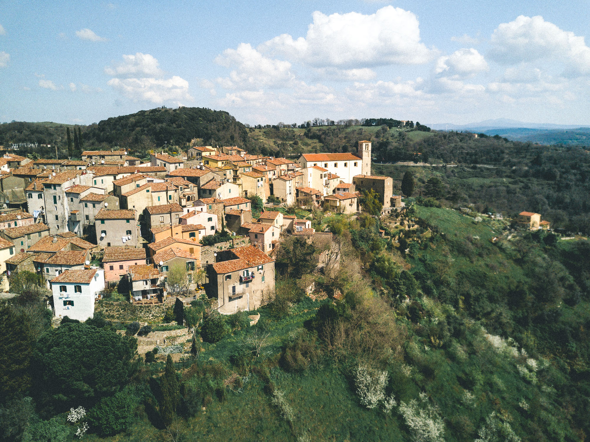 The quaint old town of Scansano in Southern Tuscany, Italy