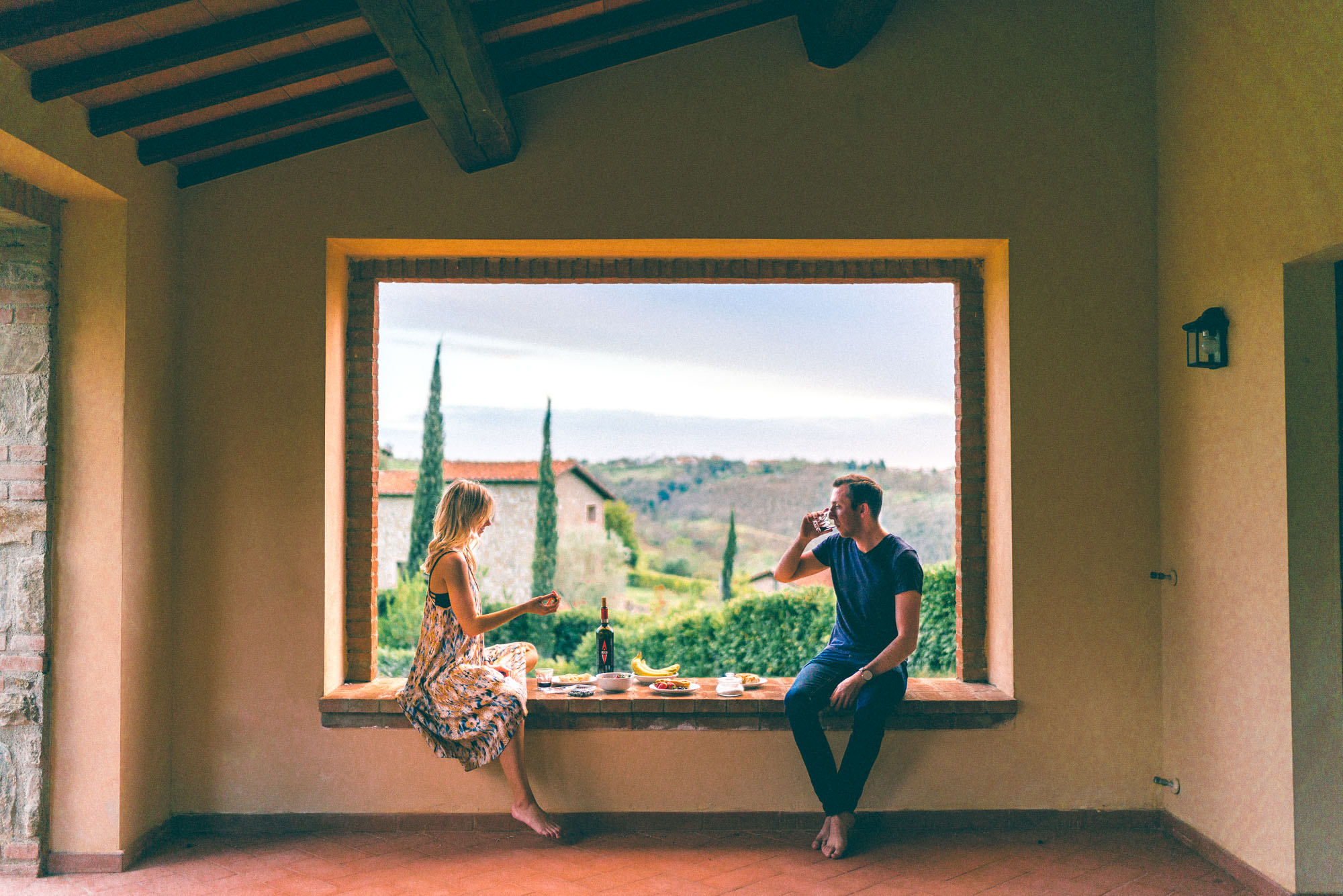Wine tasting at our tuscan villa in southern Tuscany, Italy