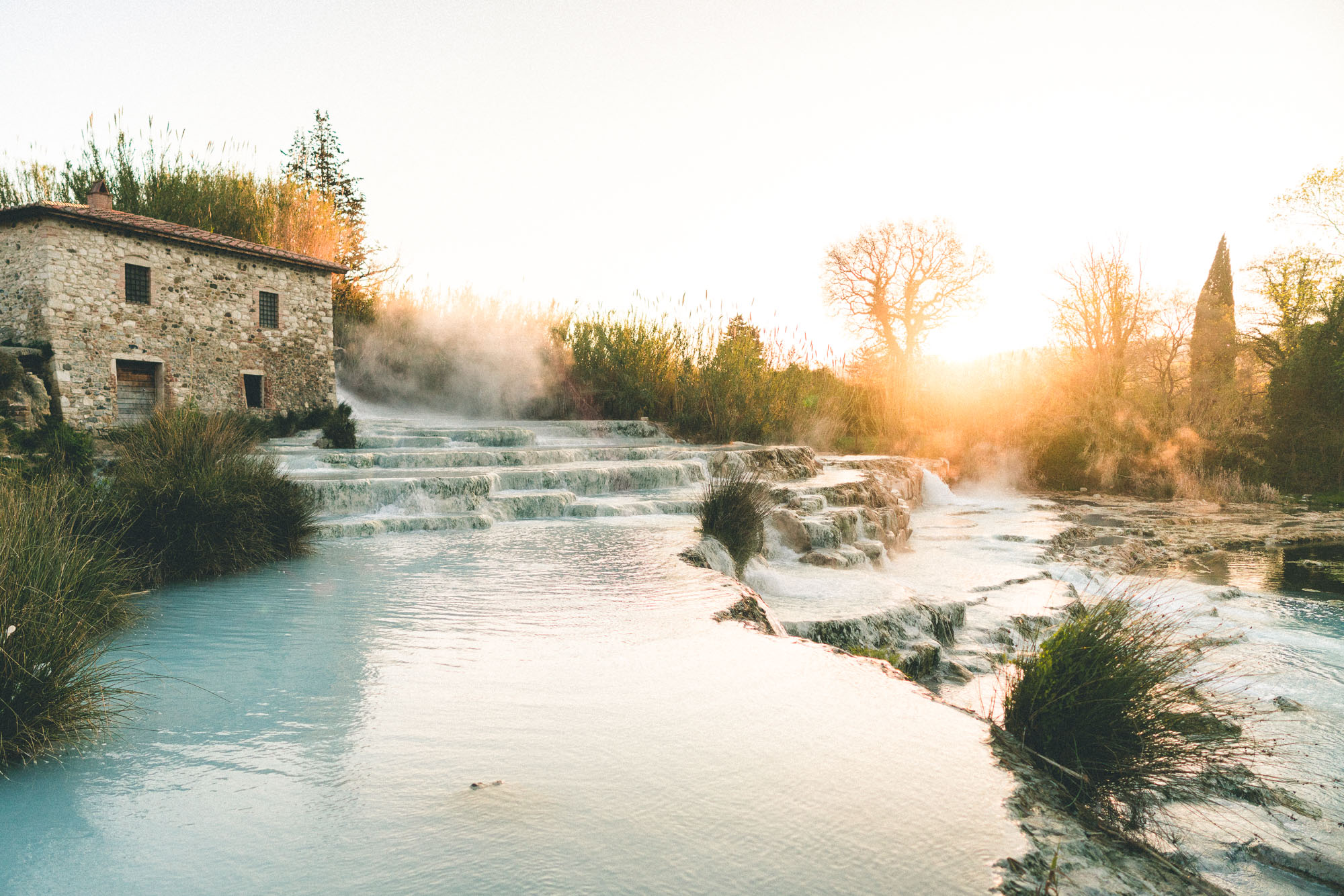 A natural thermal bath mineral hot springs in Tuscany, Italy