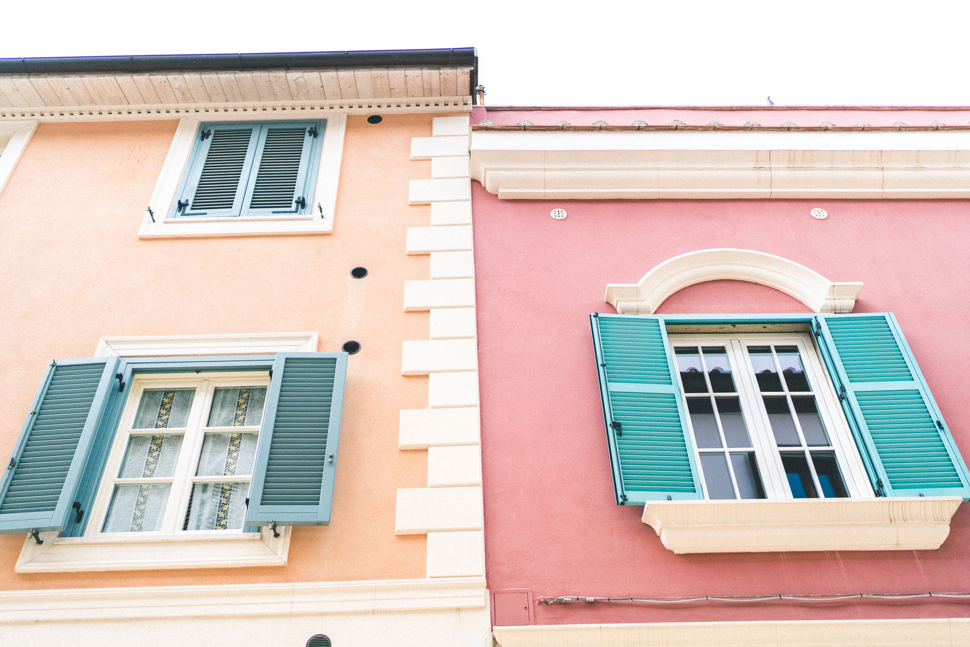 Pastel buildings in Porto Santo Stefano seaside town, southern Tuscany, Italy