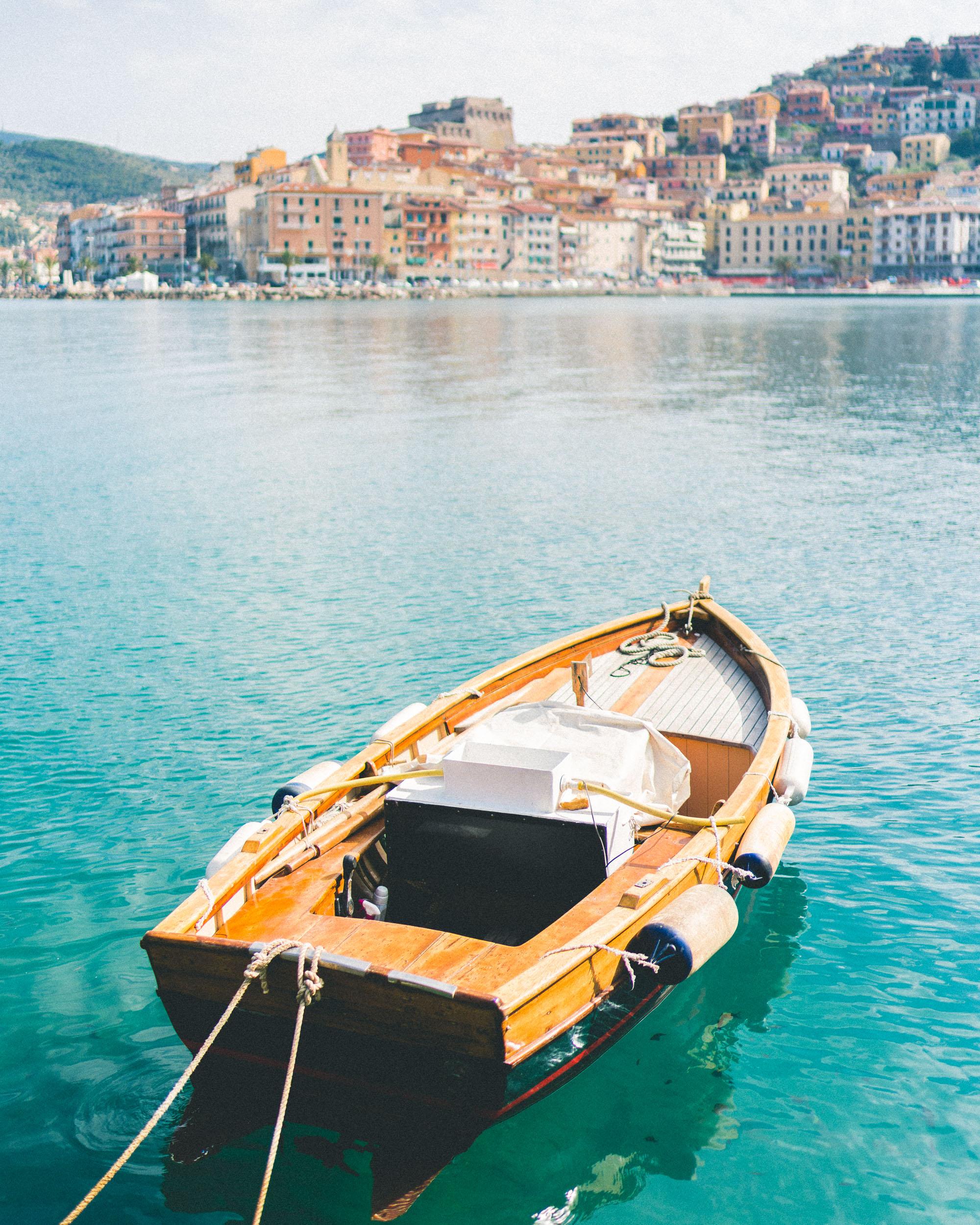 Views of Porto Santo Stefano seaside italian town, southern Tuscany, Italy