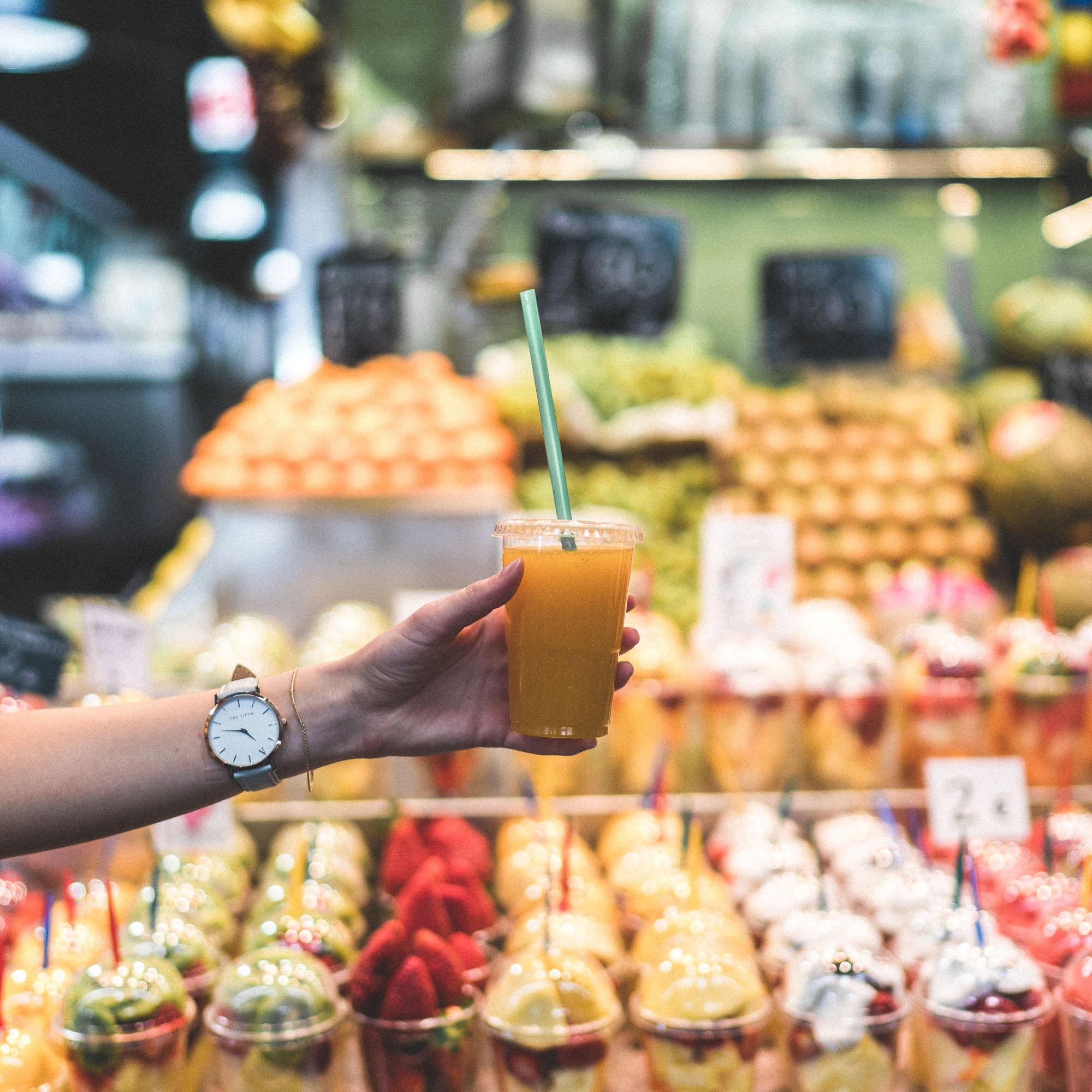 Mercado de la Boqueria for fresh juice and spanish tapas - Barcelona, Spain