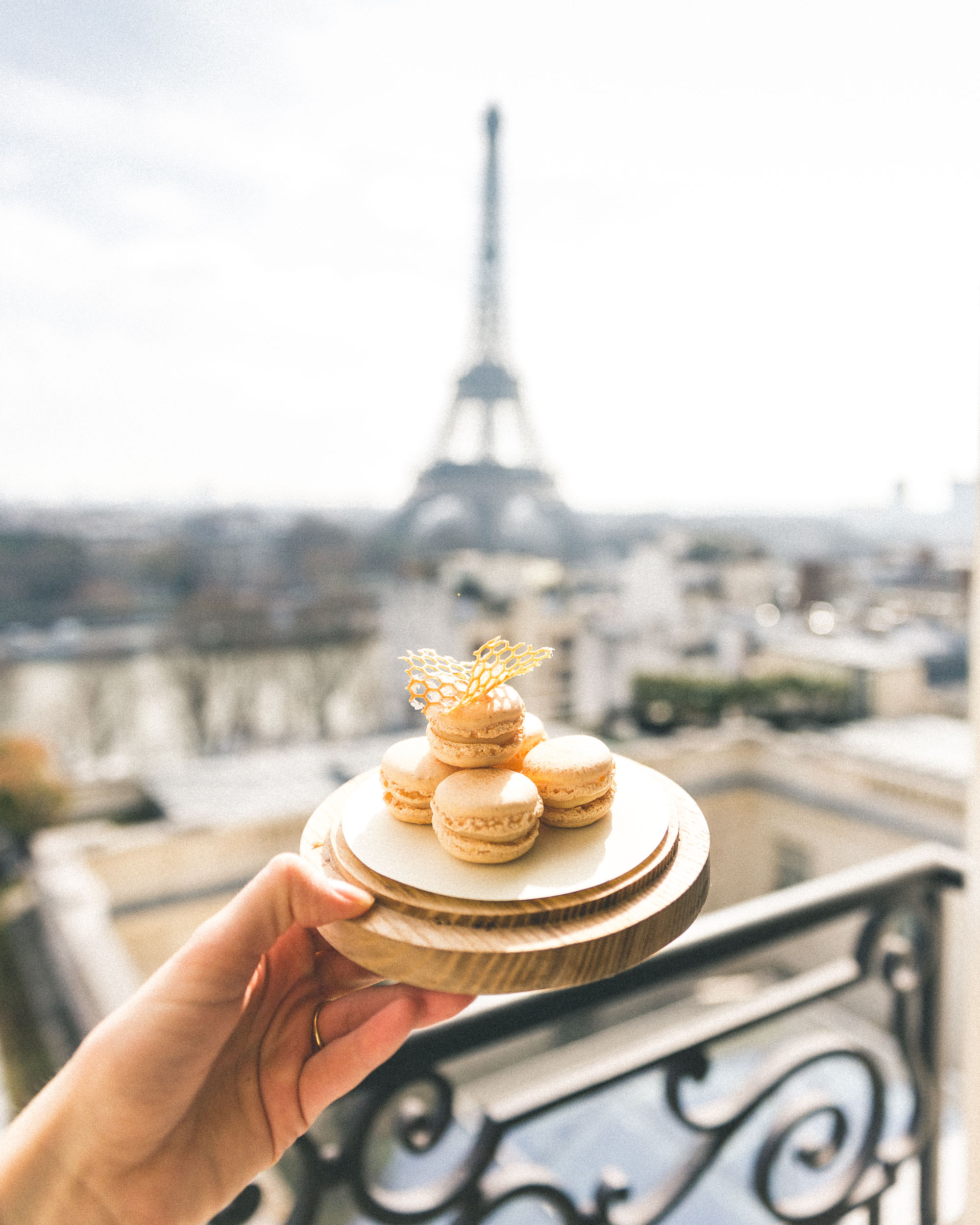 macarons and the eiffel tower from the Shangri La Paris