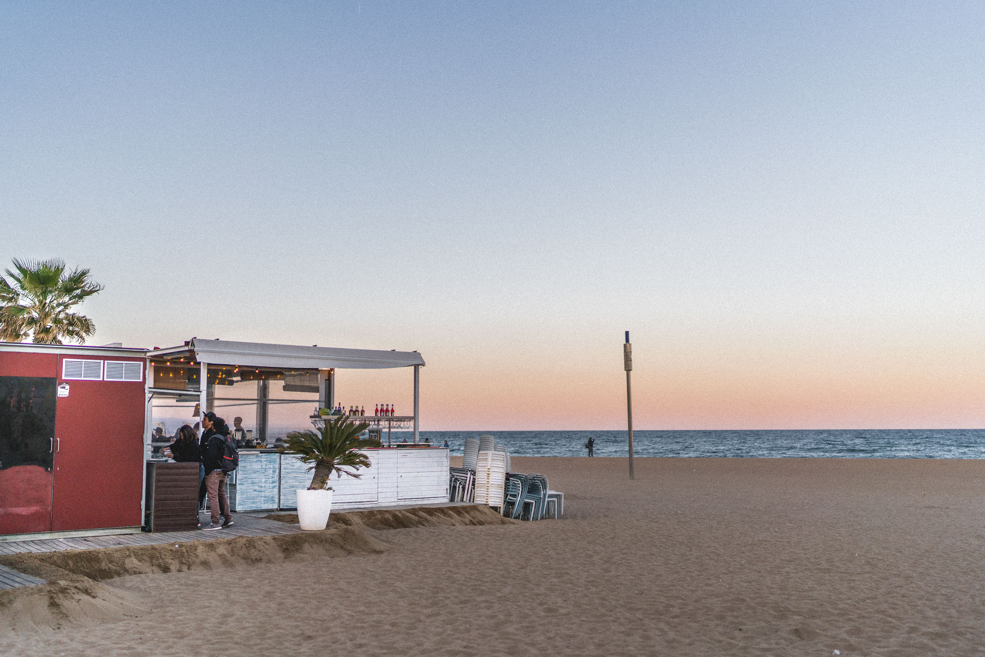 Beachfront restaurants and cafes in Barcelona, Spain