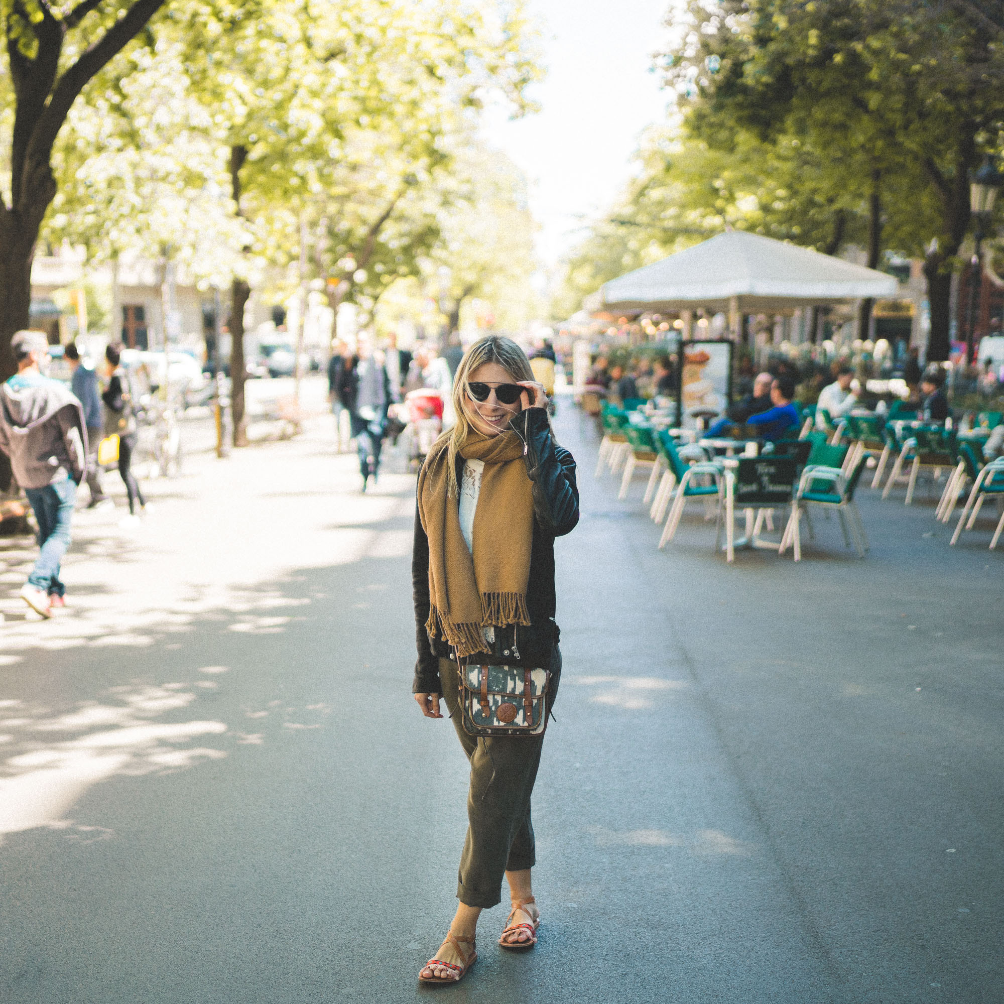 Shopping and eating at La Rambla in Barcelona, Spain