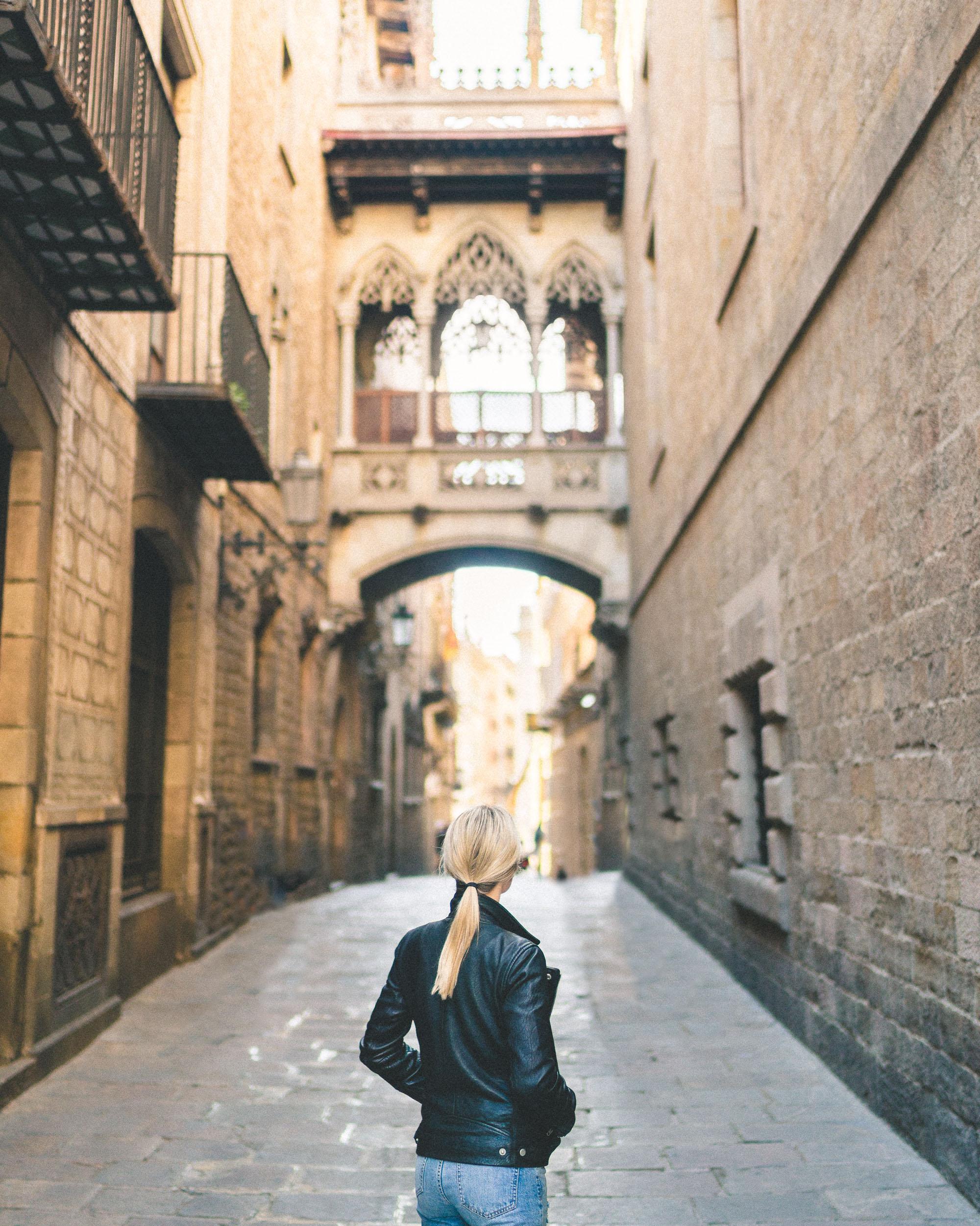Pont del Bisbe bridge in the Old Gothic Quarter - Barcelona, Spain