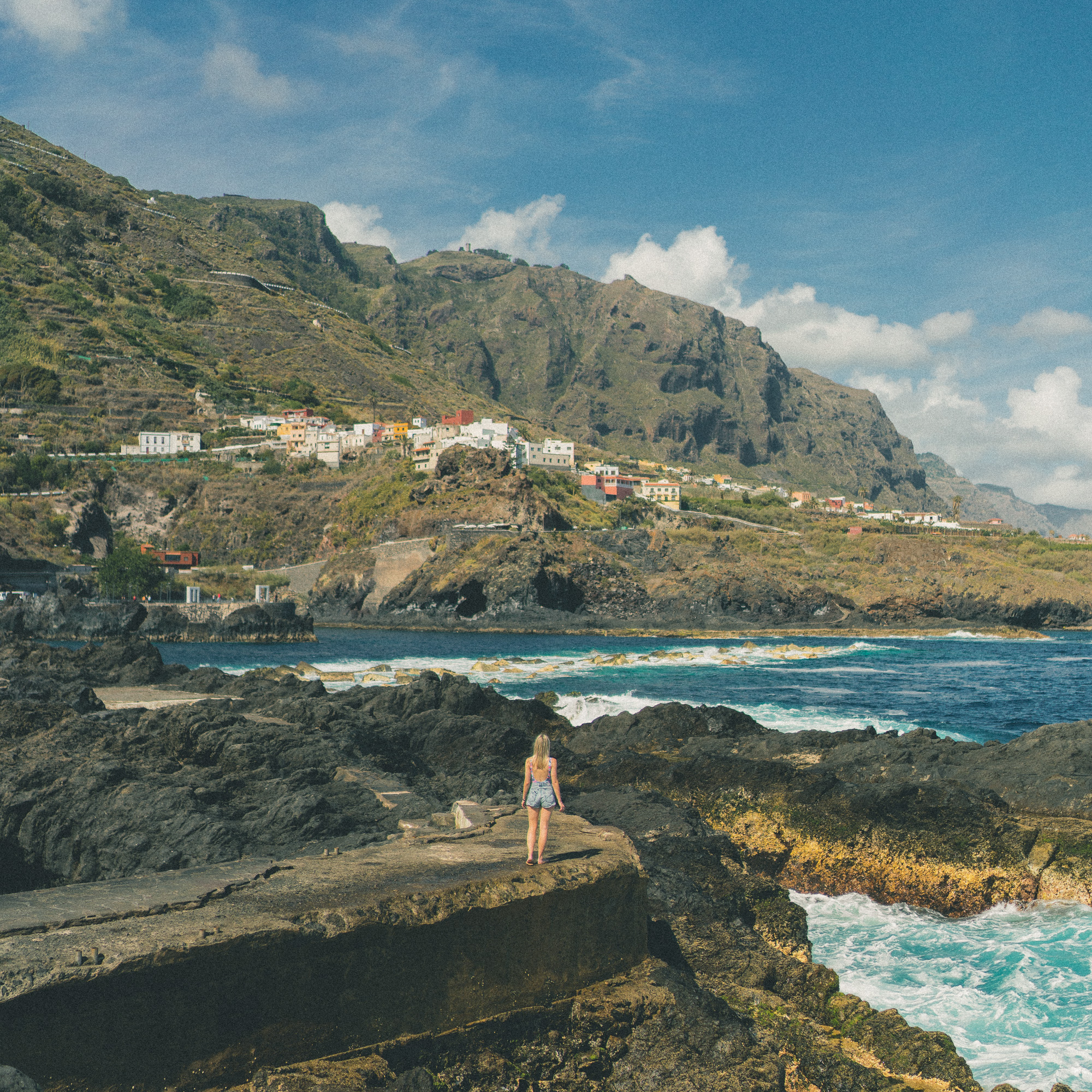 Natural pools and views of Garachico, Tenerife, Canary Islands, Spain