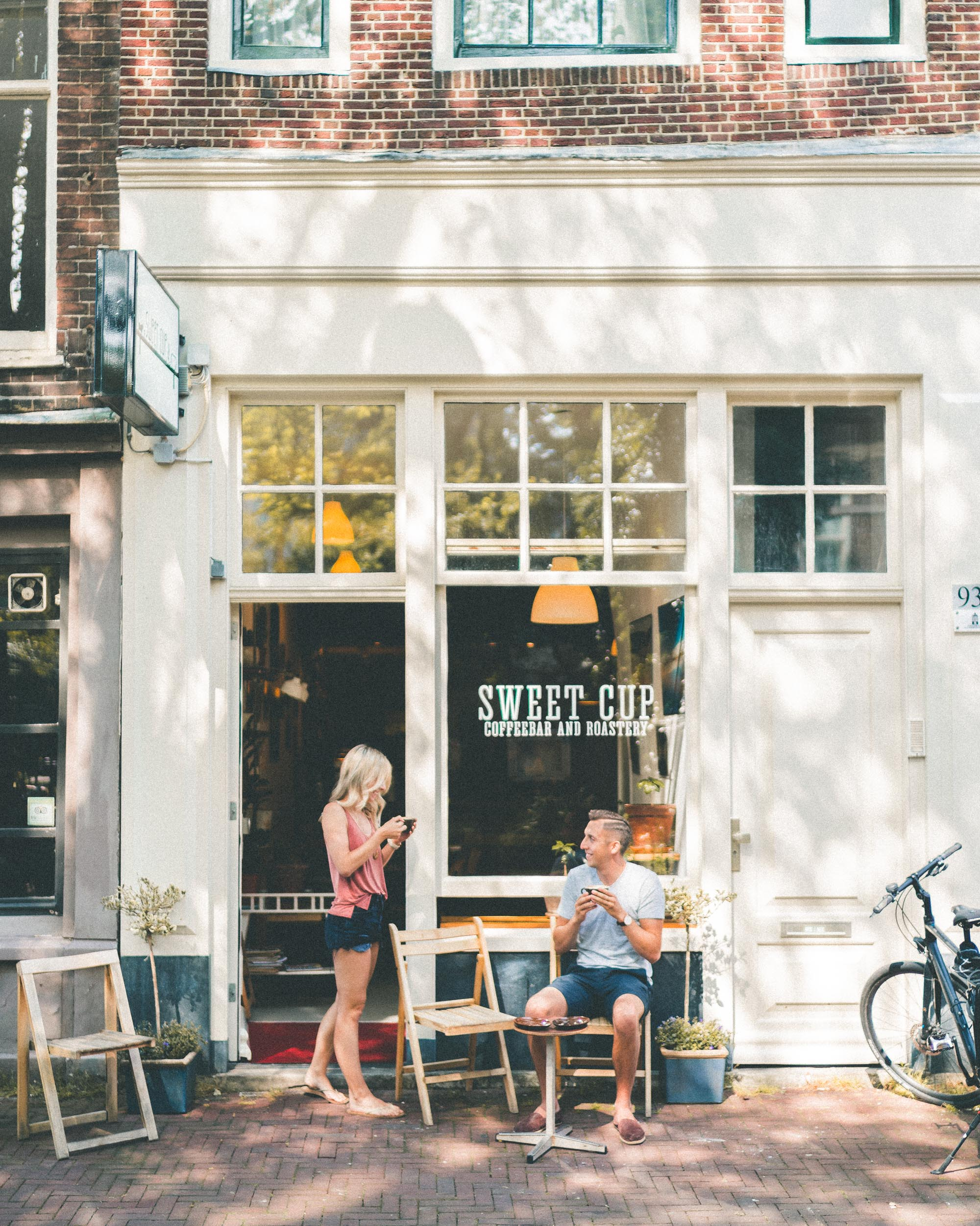 Coffee outside of Sweet Cup Roastery, Amsterdam, The Netherlands