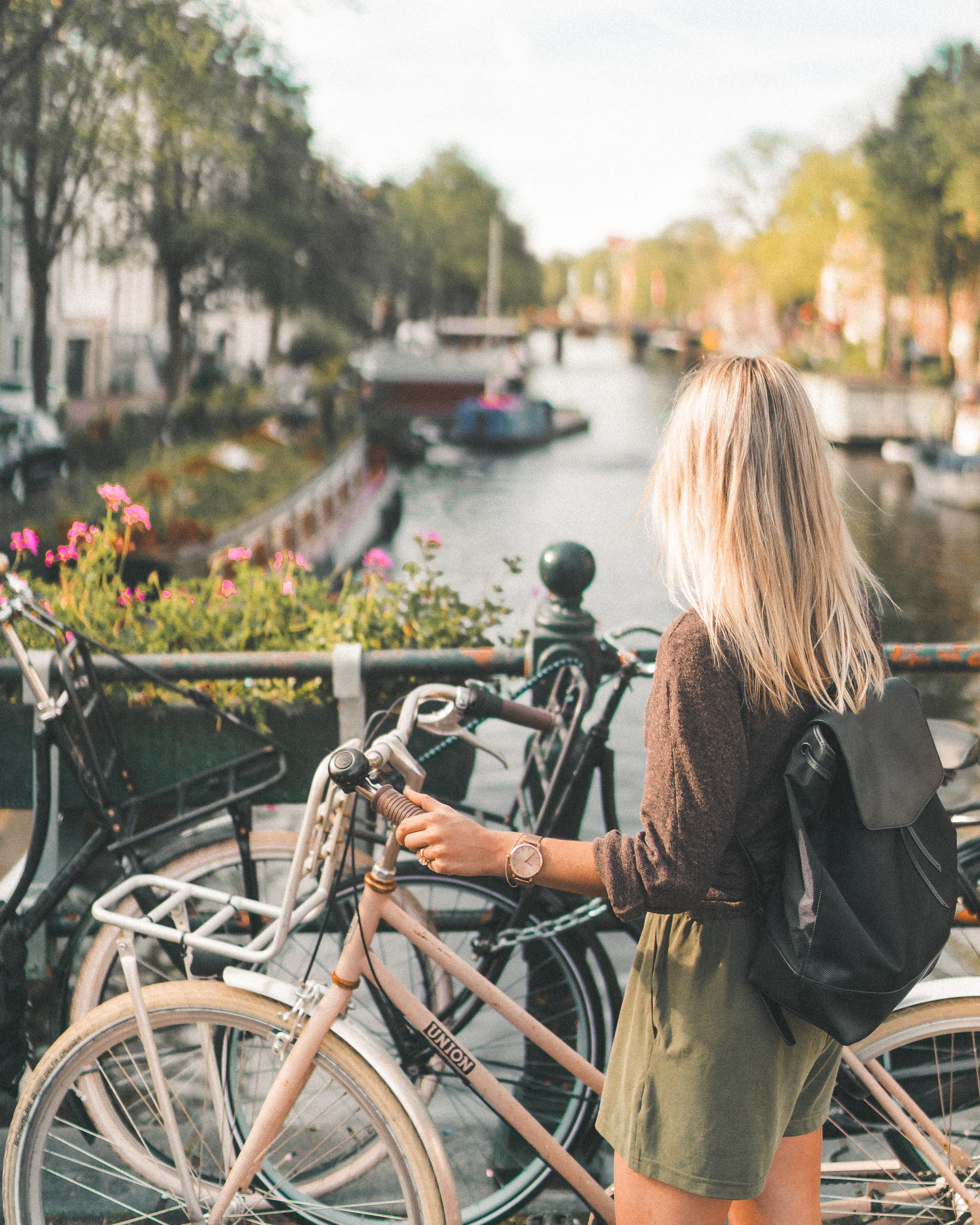 Biking in Amsterdam's 9 streets area, The Netherlands