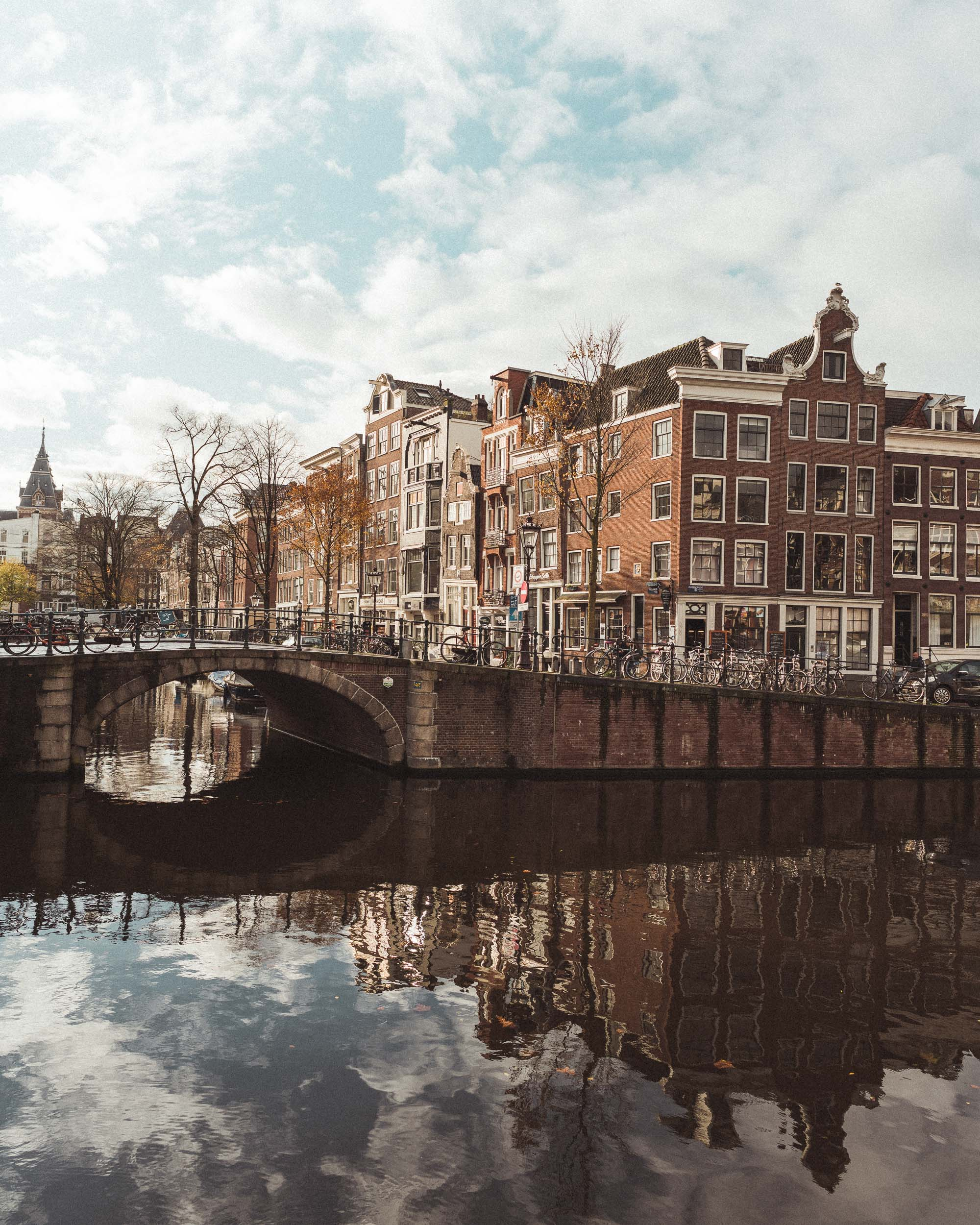 Photogenic dutch canal houses near the rijksmuseum in Amsterdam, The Netherlands
