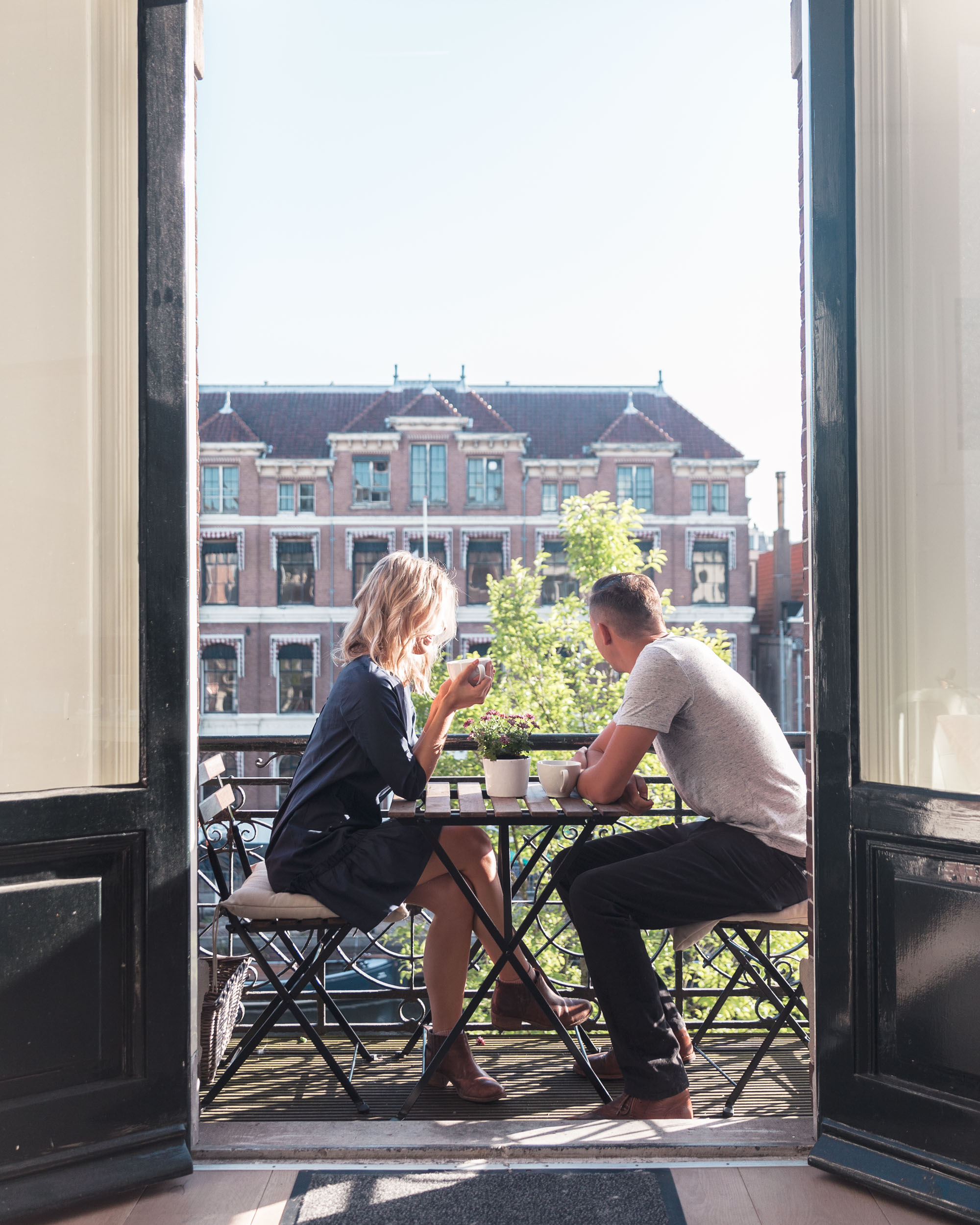 Dutch apartment with a balcony in Amsterdam, Holland, The Netherlands