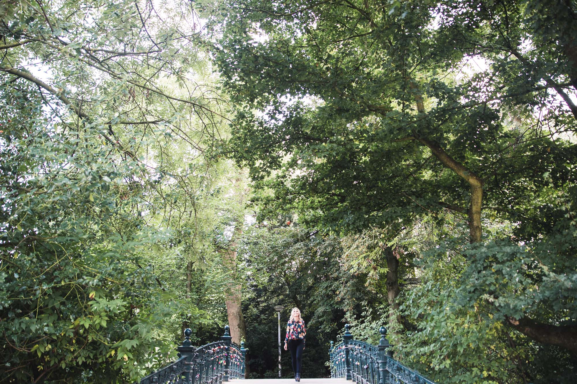 Vondelpark in the summer, walking across the many bridges in the center, Amsterdam, Netherlands