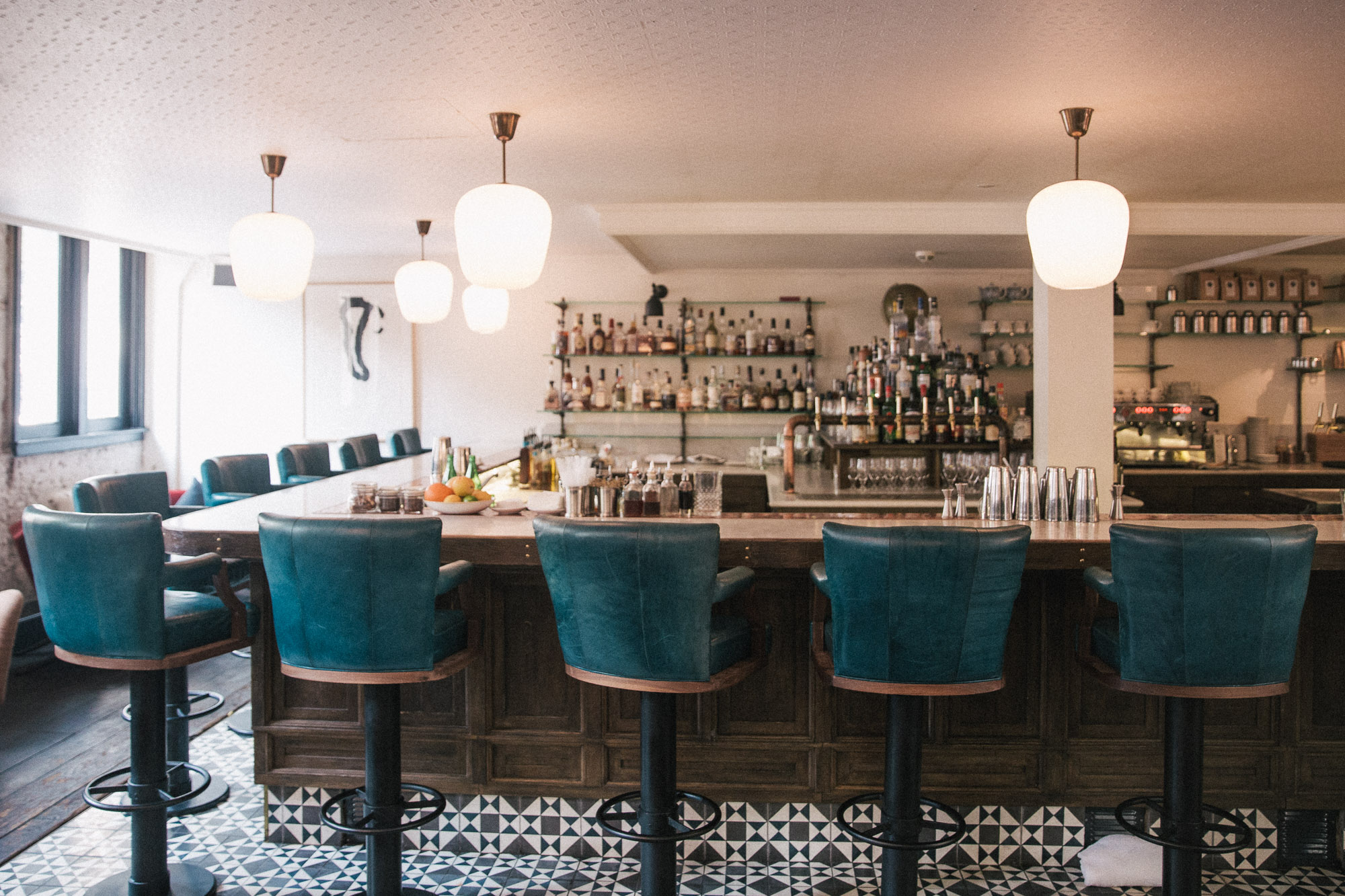 Bar at the hoxton hotel in Amsterdam's trendy 9 streets district, The Netherlands