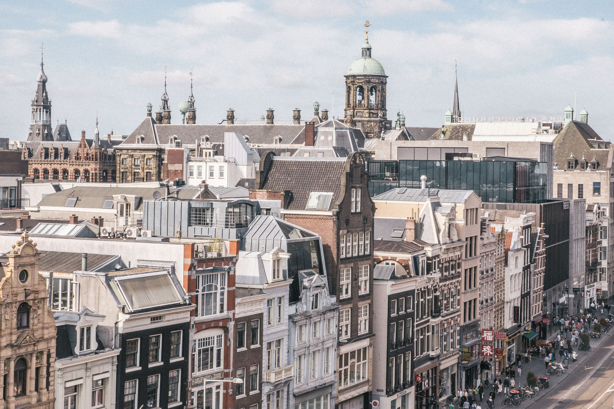 Amsterdam rooftops city view of Rokin Amsterdam, The Netherlands