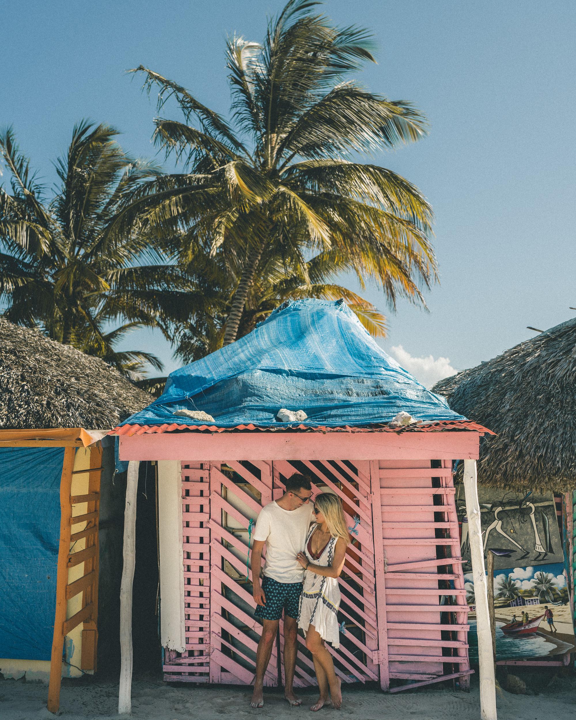 Pink beach shacks on Saona Island, Dominican Republic | Clear Blue Water in Punta Cana | Tropical Paradise Beach Getaways in the Caribbean | Islands Near North America