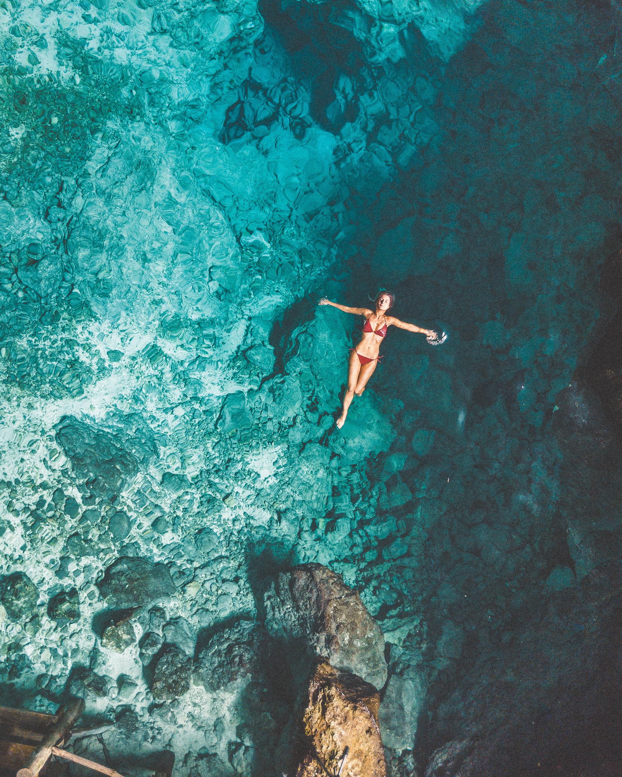 Swimming in Hoyo Azul (Blue Hole), Dominican Republic | Clear Blue Water in Punta Cana | Tropical Paradise Beach Getaways in the Caribbean | Islands Near North America