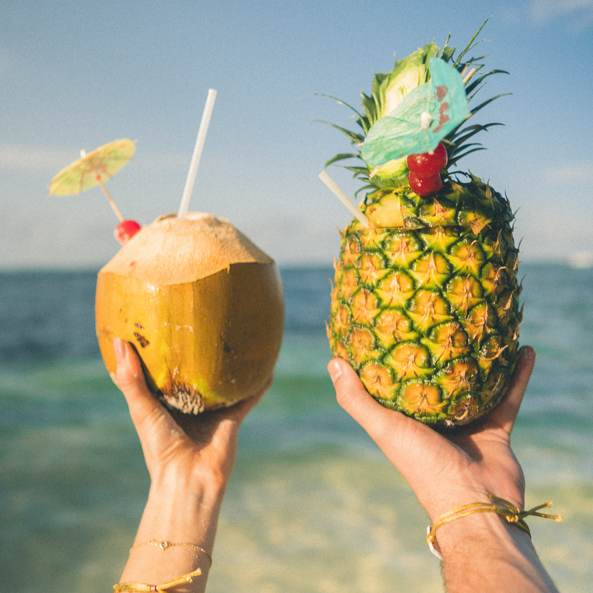 Tropical drinks in the Dominican Republic | Clear Blue Water in Punta Cana | Tropical Paradise Beach Getaways in the Caribbean | Islands Near North America