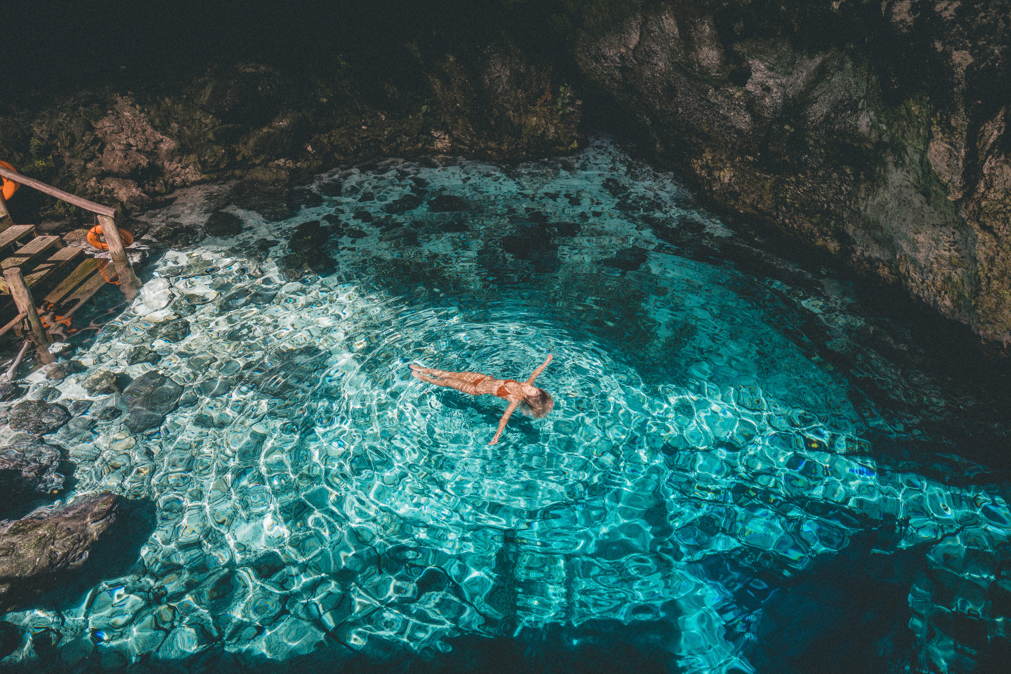 Floating in the Hoyo Azul, Dominican Republic