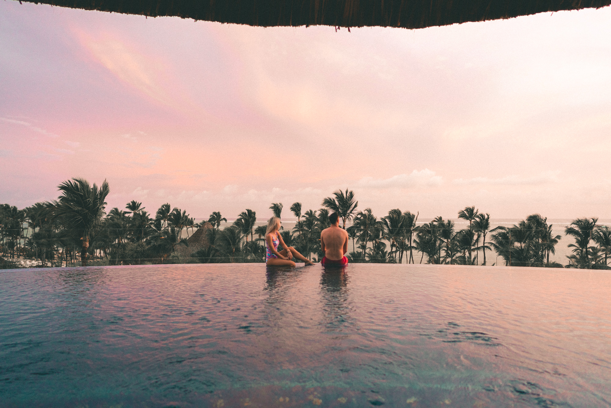 Sunset views from Barcelo Resort in the Dominican Republic | Clear Blue Water in Punta Cana | Tropical Paradise Beach Getaways in the Caribbean | Islands Near North America