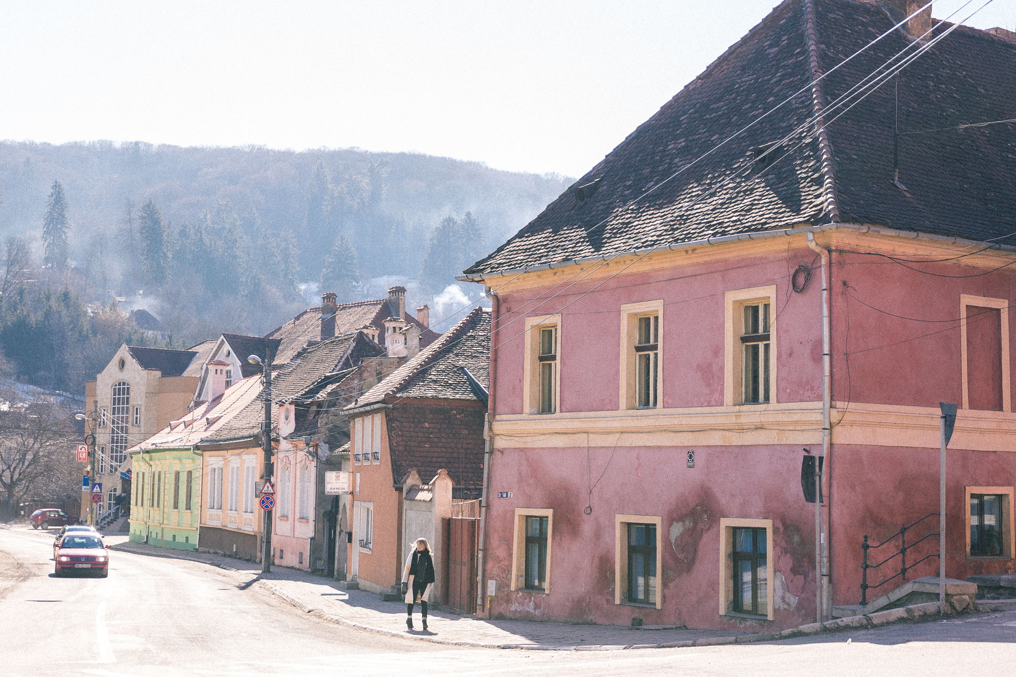 Colorful streets on a day trip to Sighisoara, Transylvania, Romania