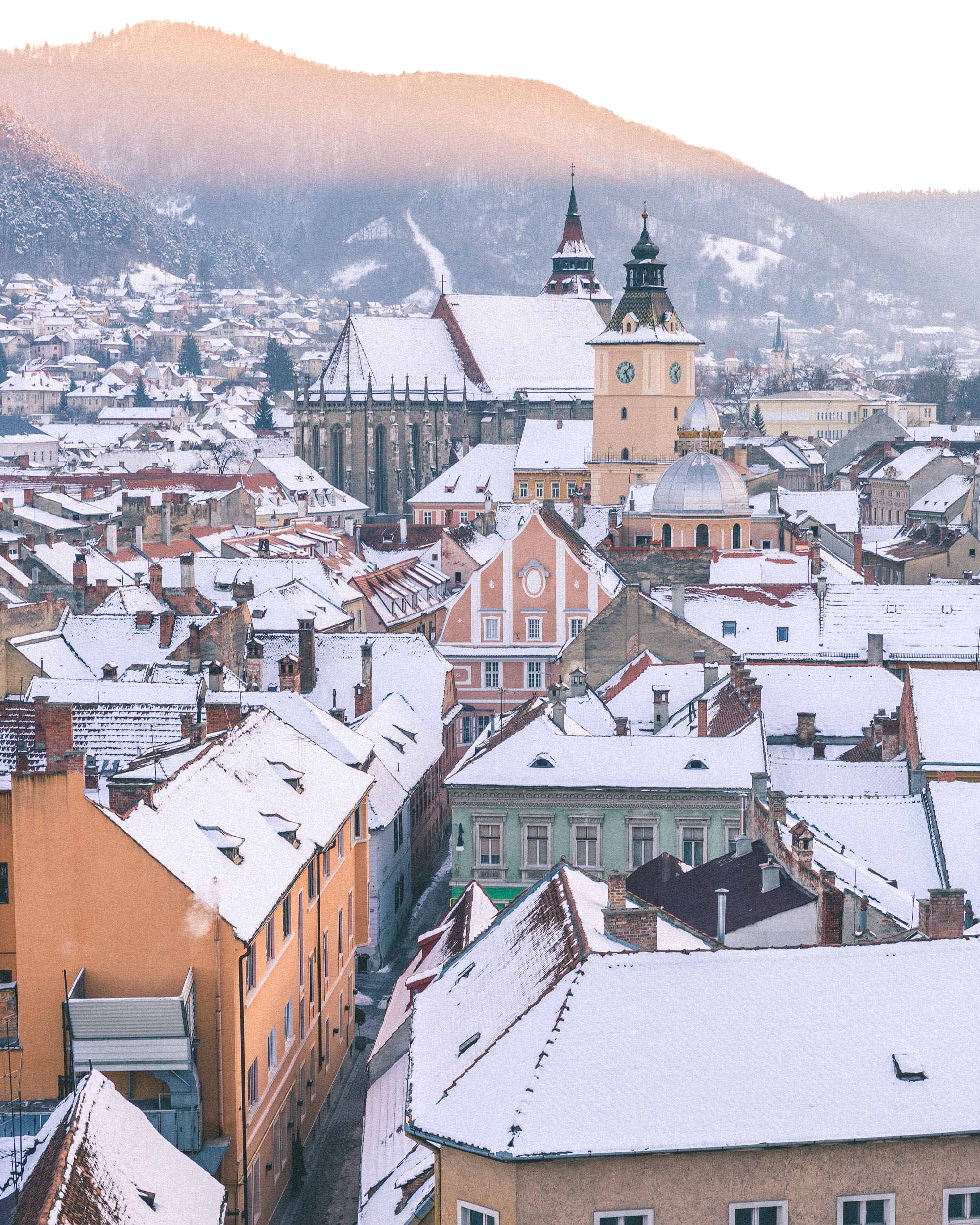 Brasov Town Romania City View At Sunset