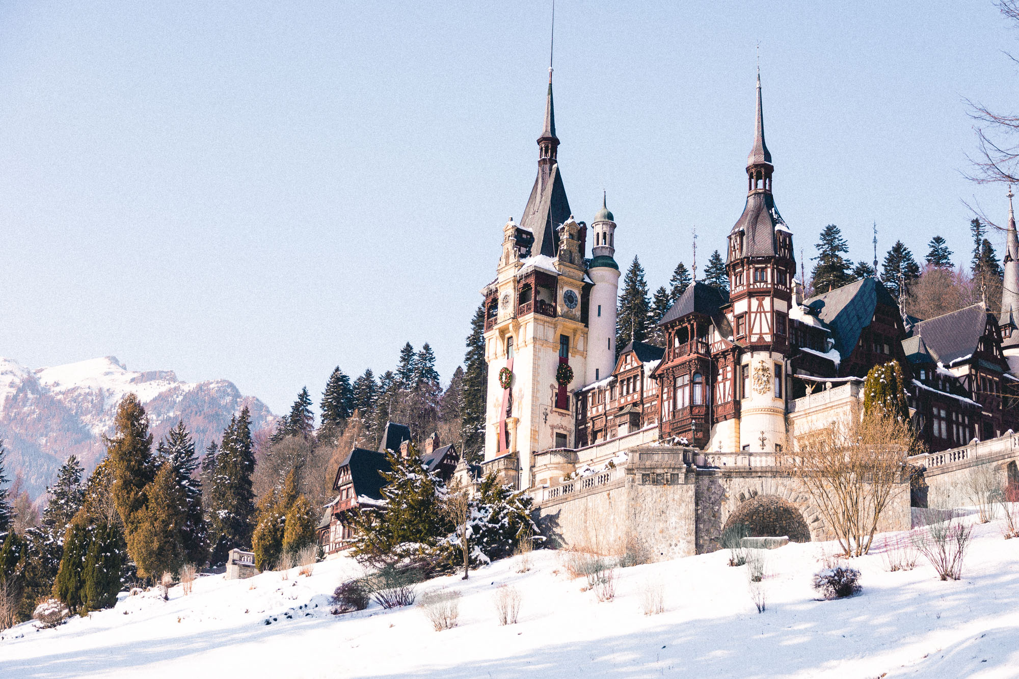 Peles Castle in Sinaia, near the Transylvania region of Romania
