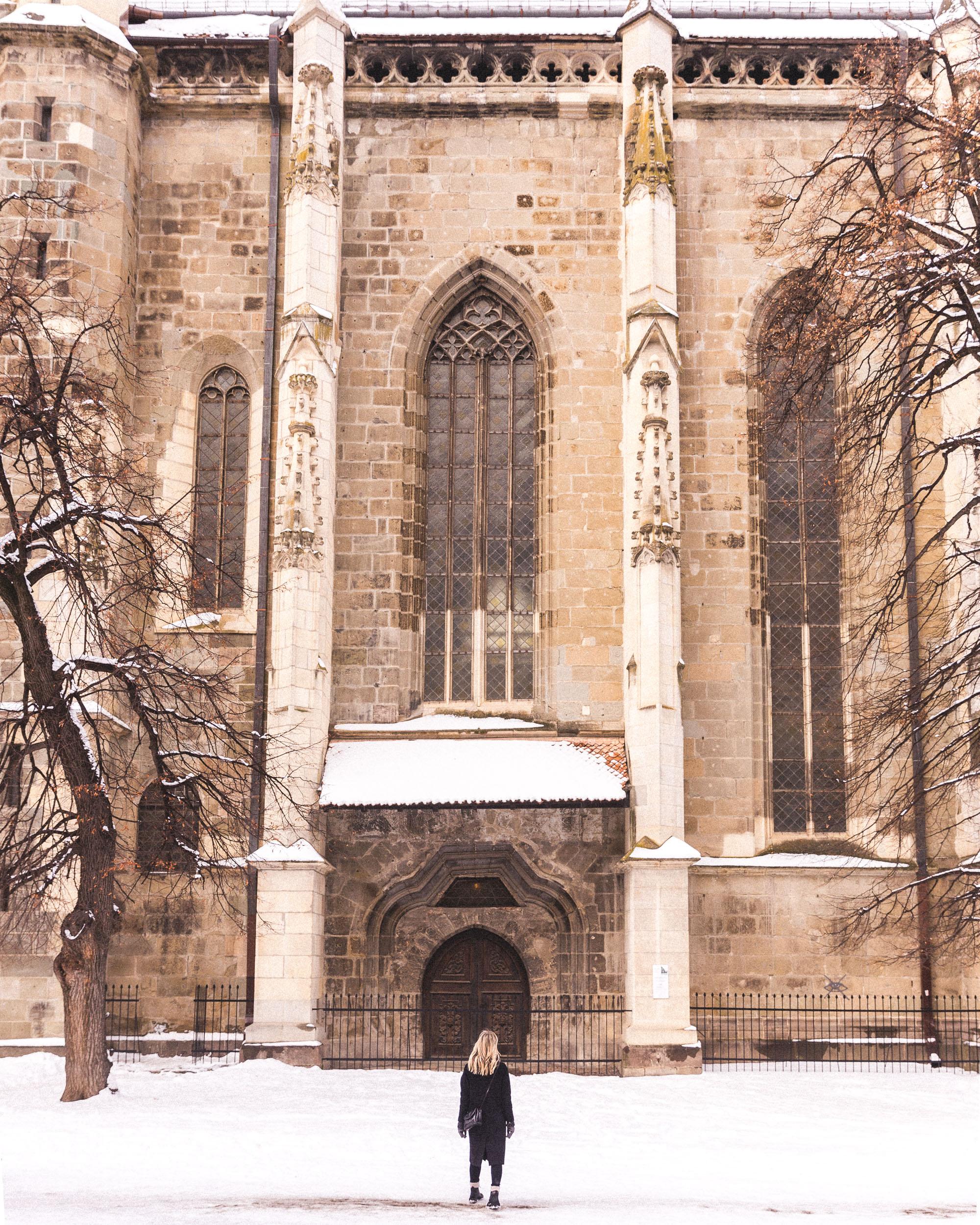 Church in Brasov town square, Transylvania, Romania
