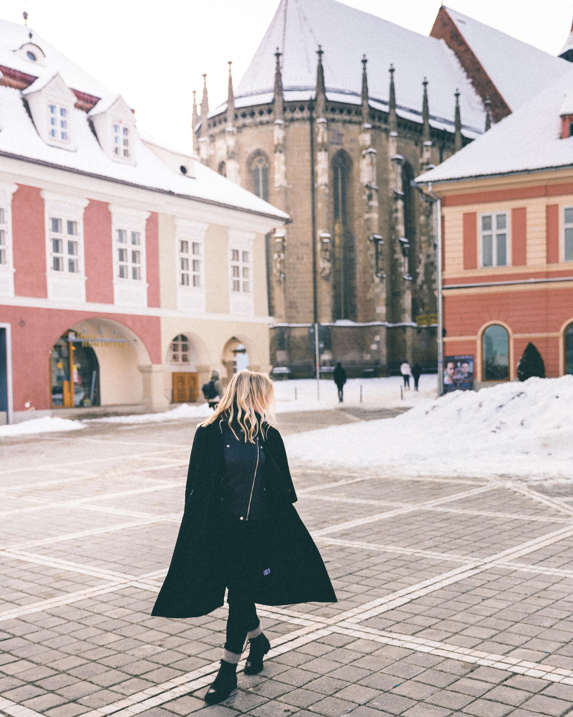 town square pastel city of poiana brasov romania