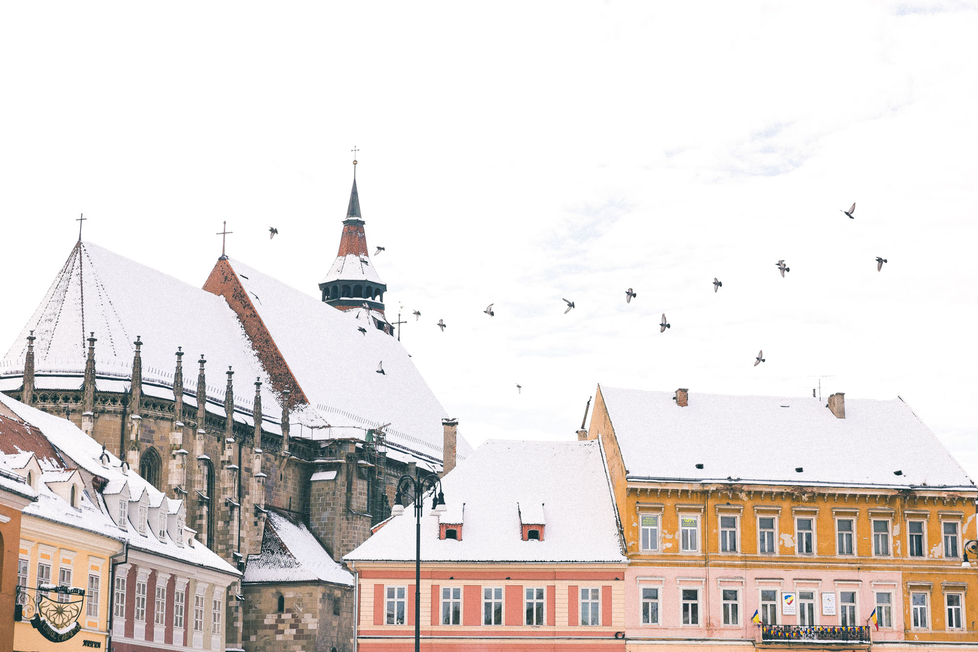 rooftops of brasov poiana pastel town in romania