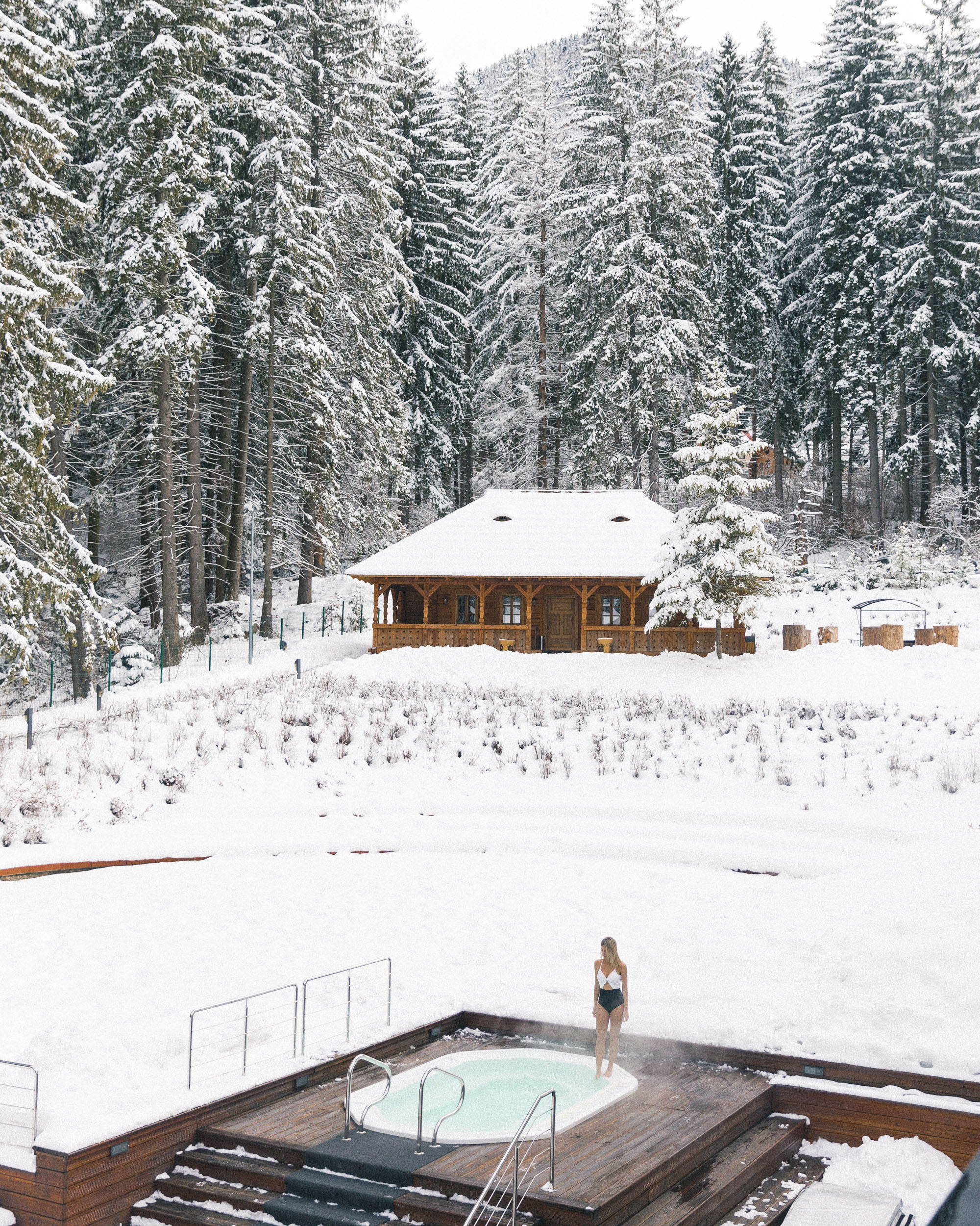 Outdoor spa in winter at Teleferic Grand Hotel in Poiana Brasov, Transylvania, Romania