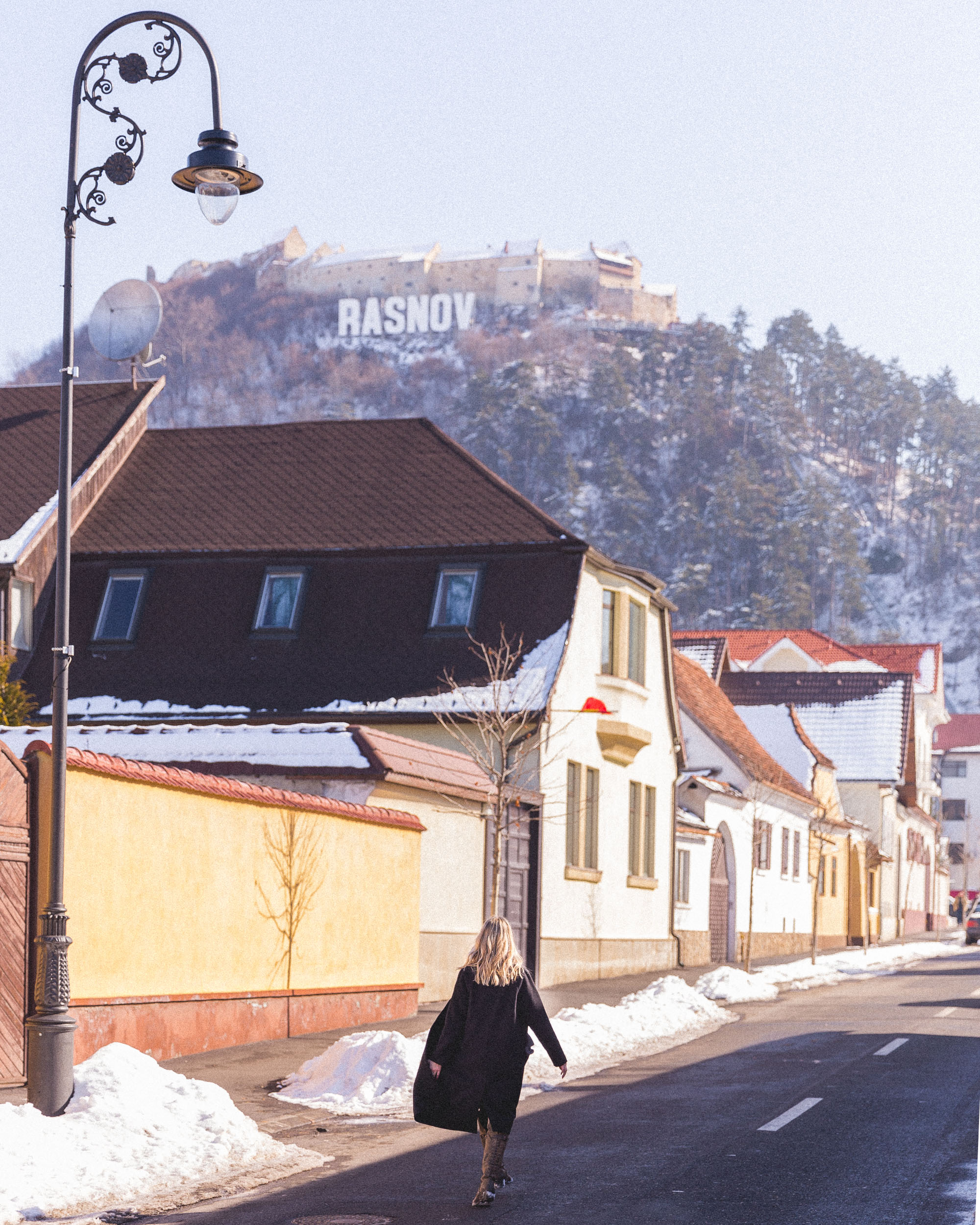 Walking streets of Rasnov Town, a day trip in Transylvania, Romania