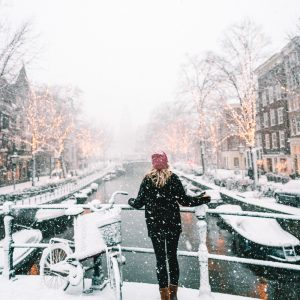 Snow in Amsterdam Netherlands