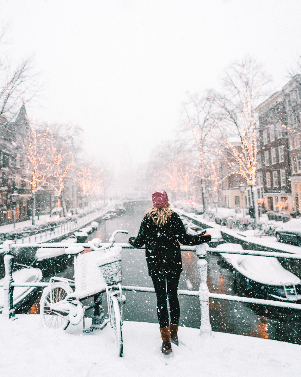 Snow in Amsterdam Netherlands Winter Travel
