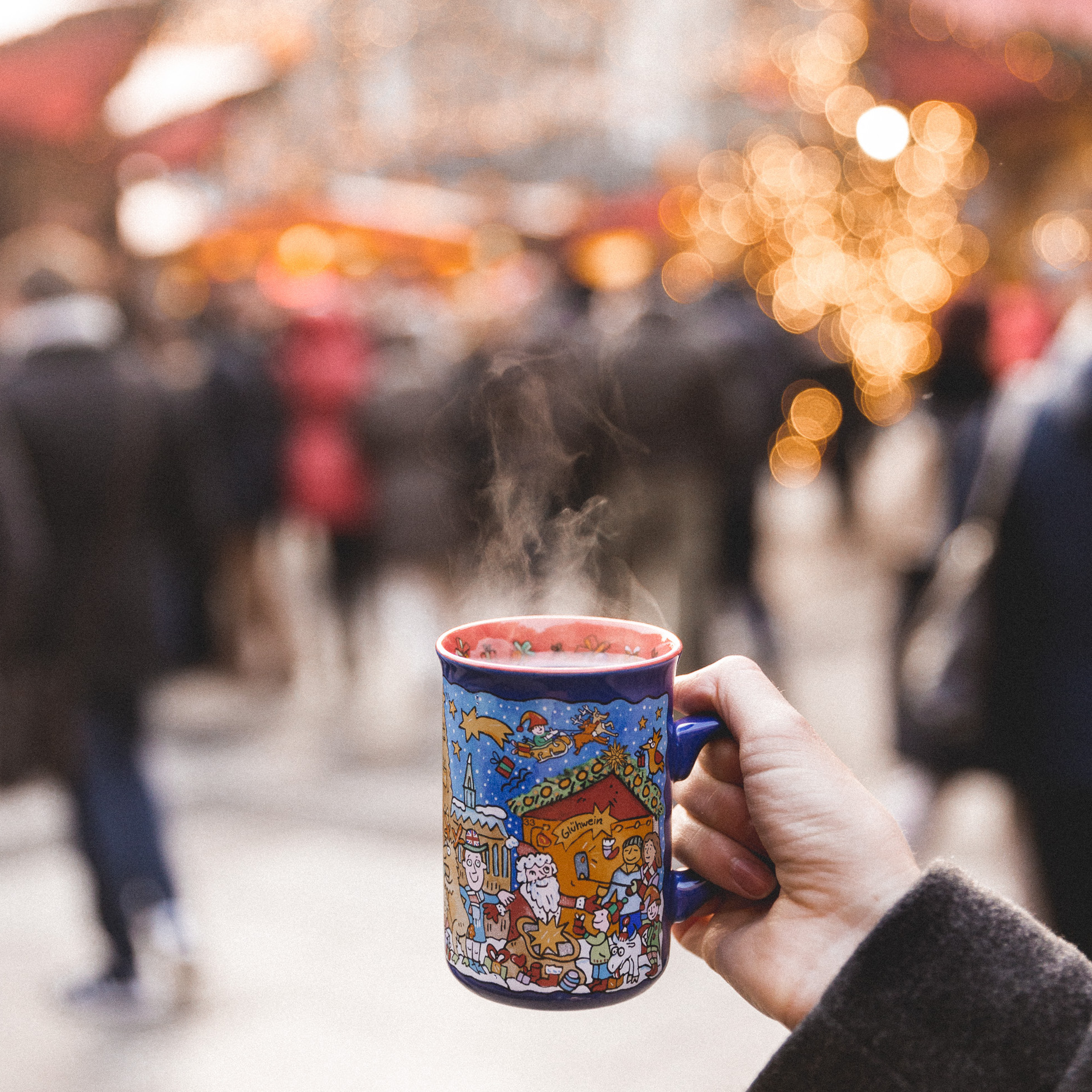 hot gluhwein at the cologne koln christmas market germany
