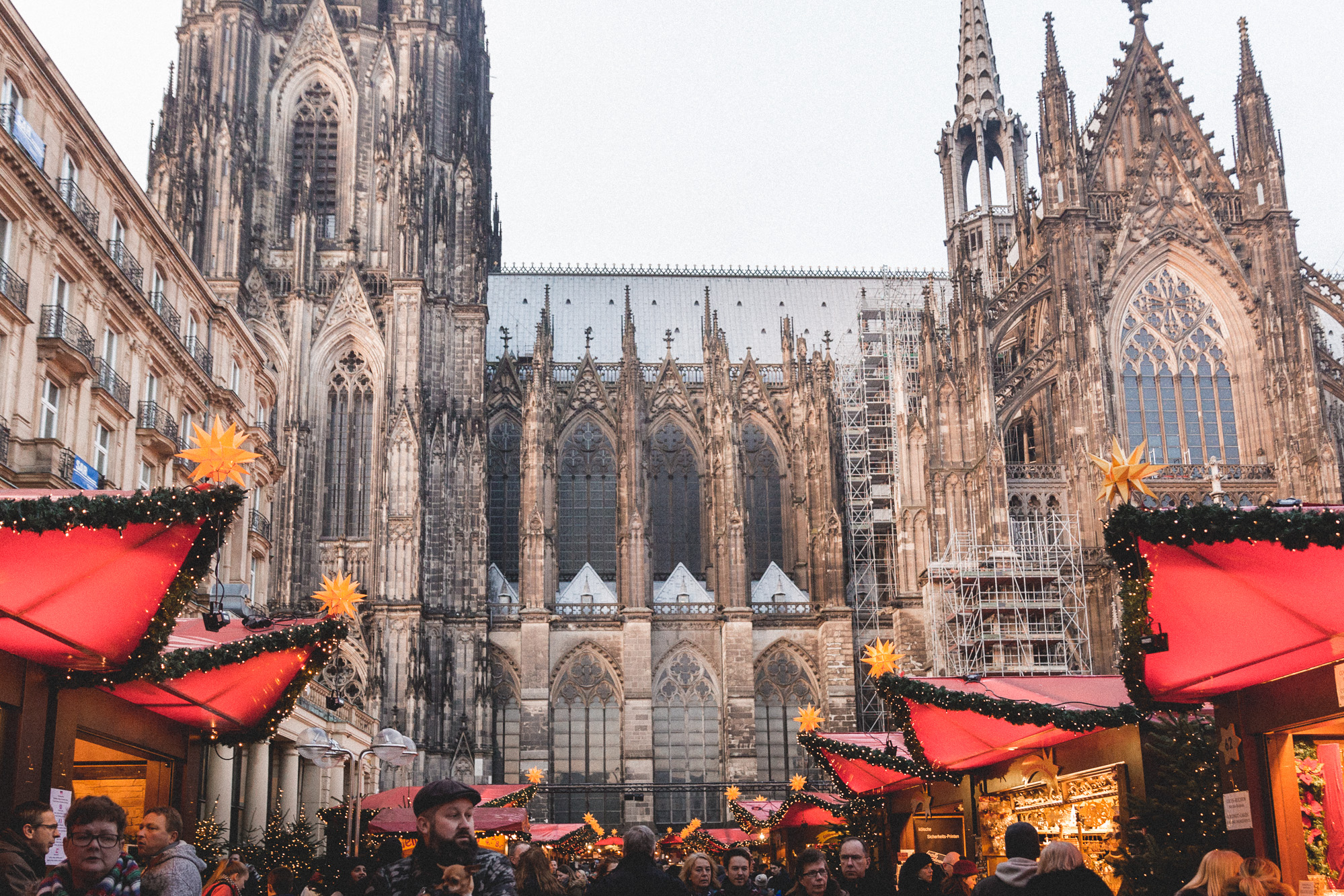 christmas market stalls at the cologne koln market in germany