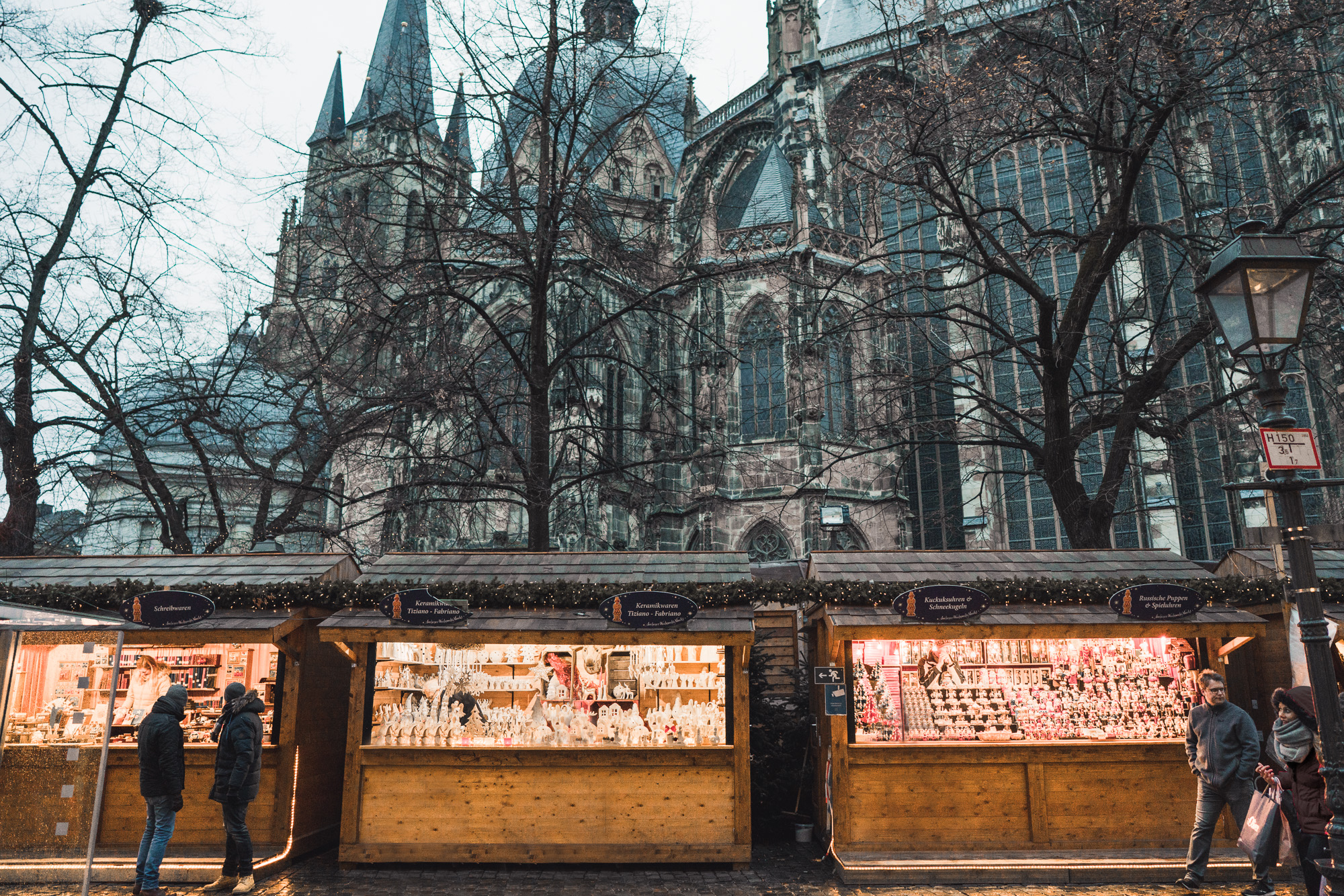 Christmas market stalls at the Aachen market in Germany