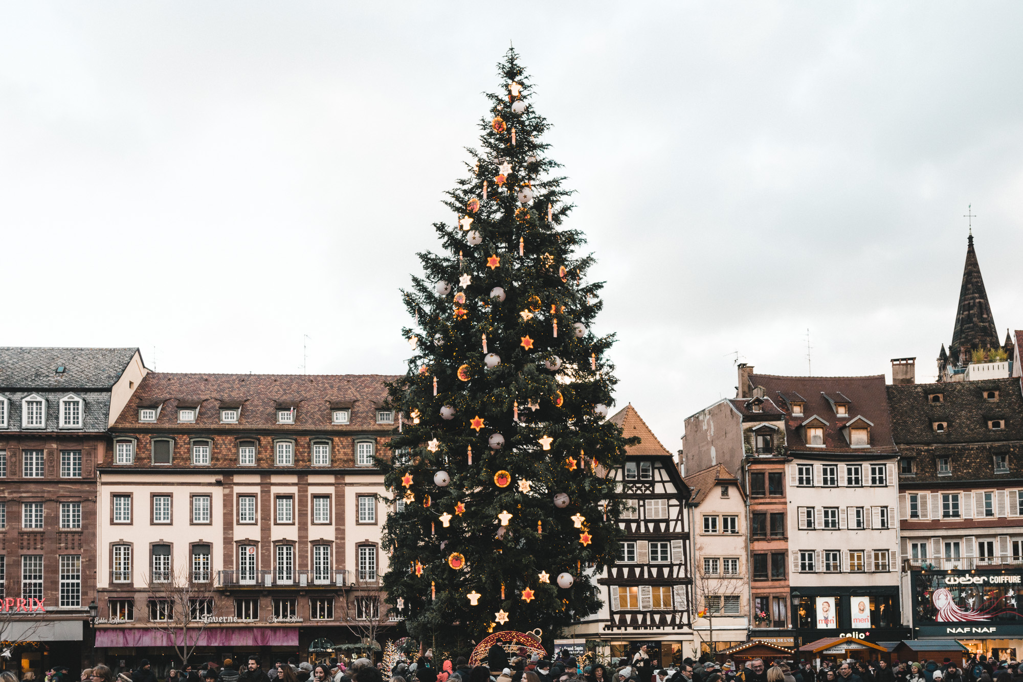 Giant christmas tree in Strasbourg square for Christmas Markets France
