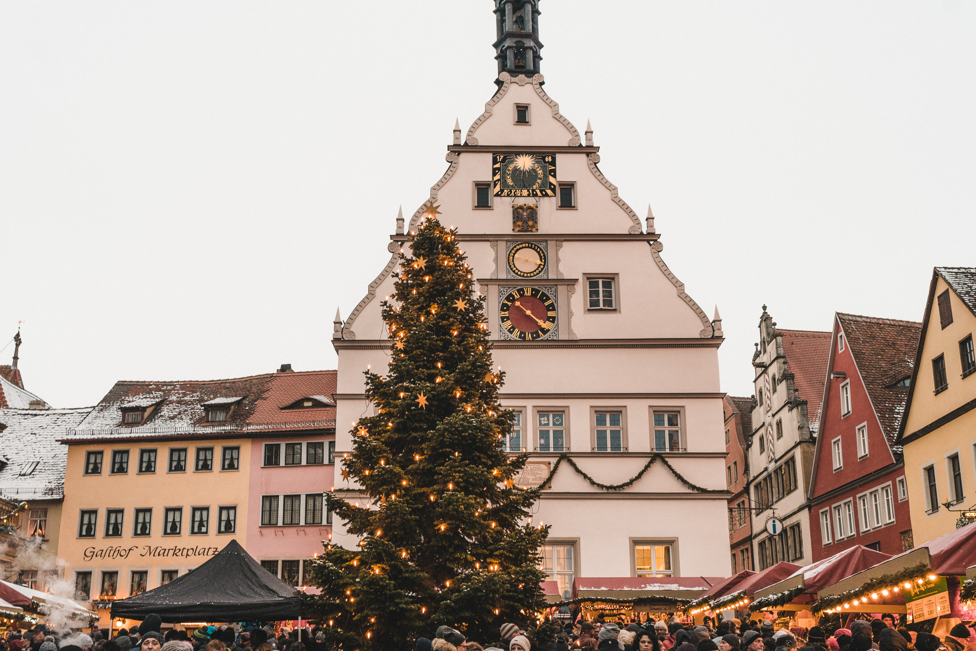 christmas markets in the square of rothenburg ob der tauber germany