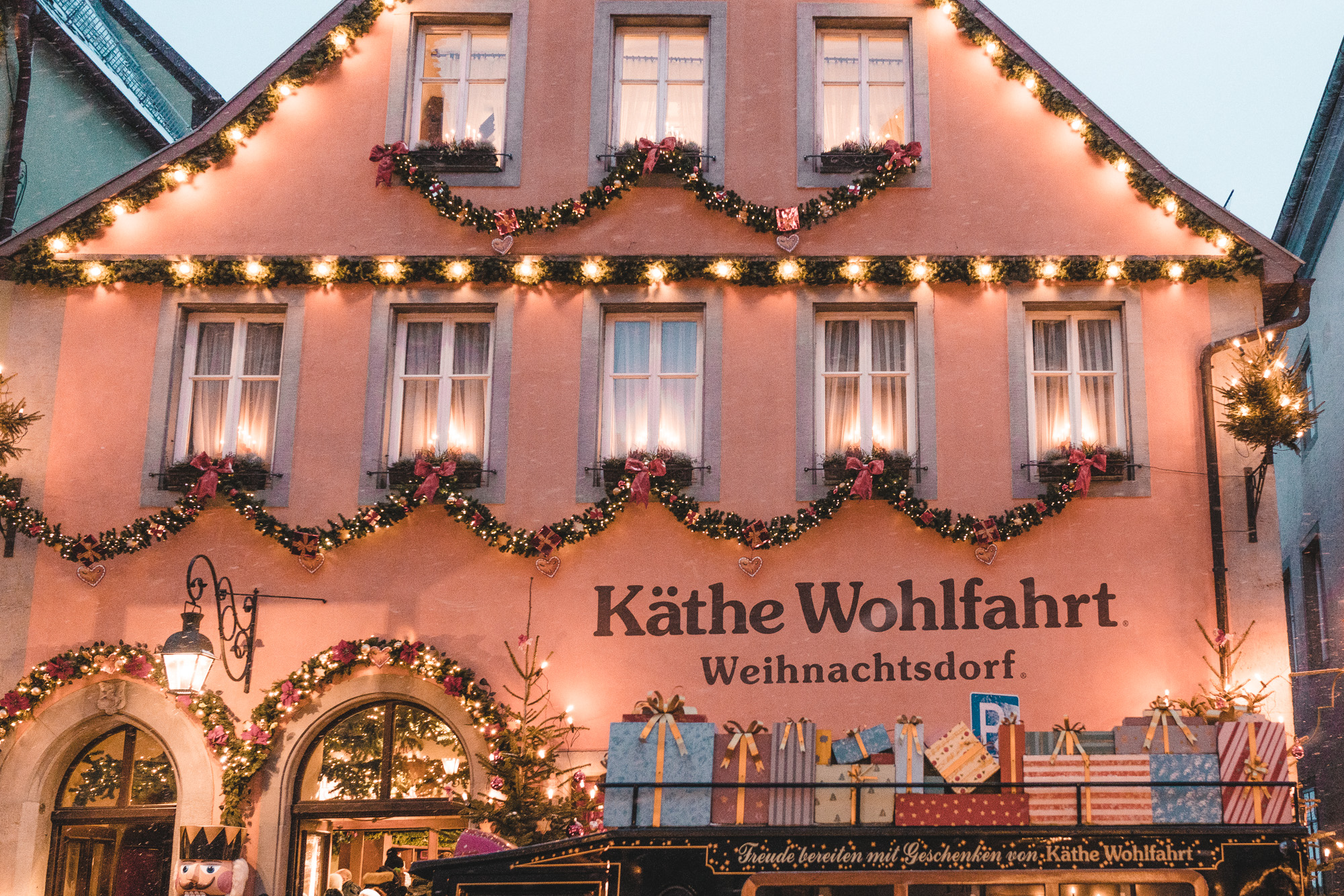 Christmas twinkle light rooftops in the pastel town of rothenburg ob der tauber germany winter