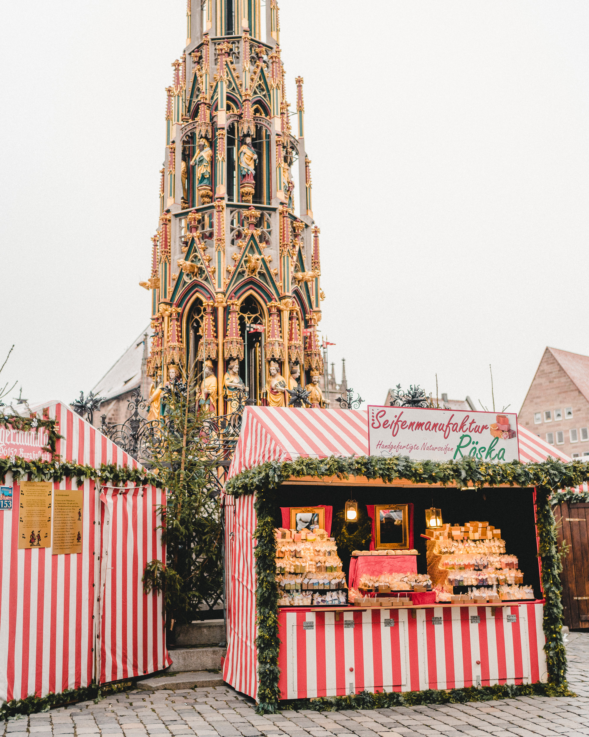red and white stalls of Nuremberg christmas market in germany