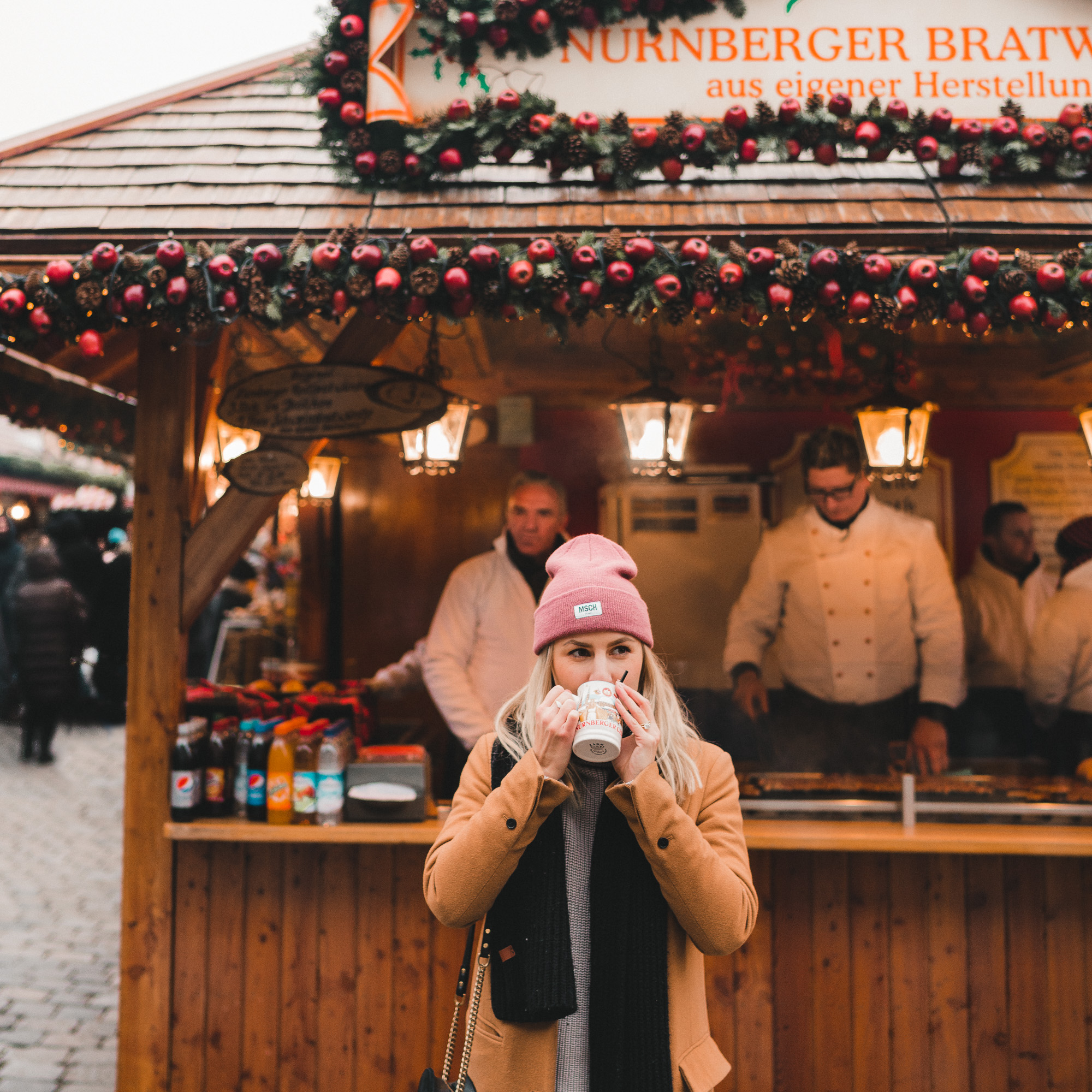 traditional gluhwein hot chocolate german sausage at the Nuremberg Germany christmas markets