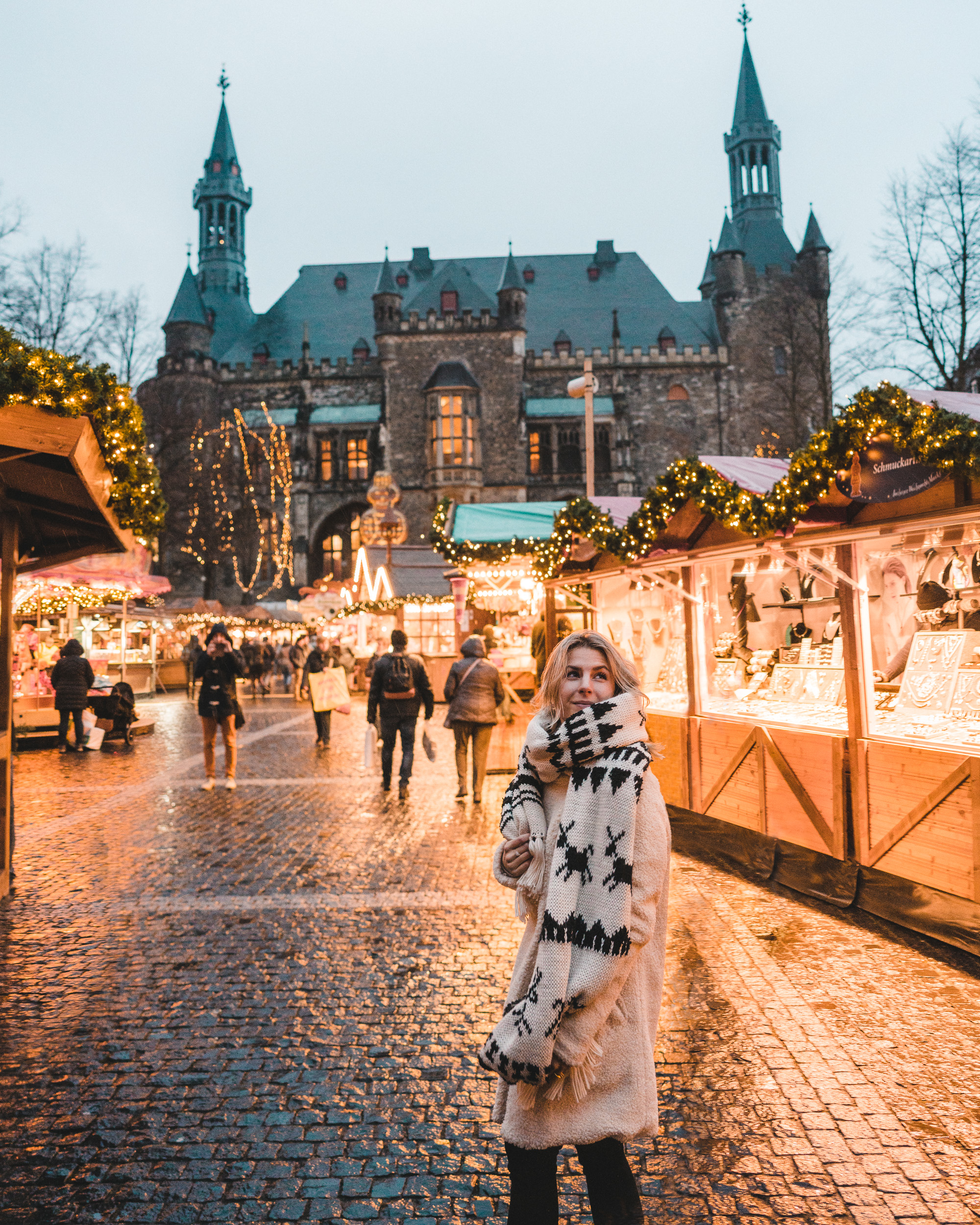 Christmas market stalls at the Aachen square Germany