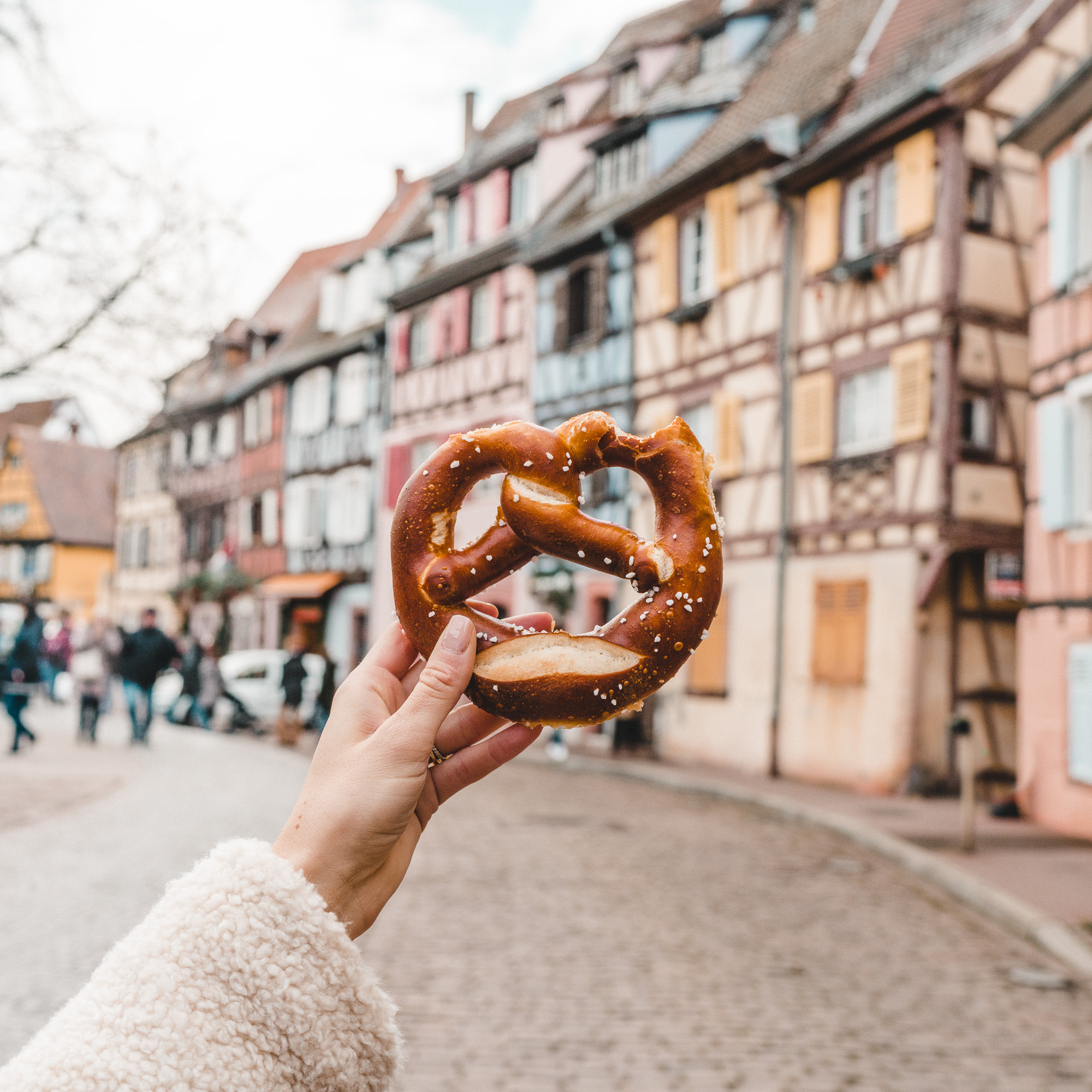 Fresh baked pretzels at the Colmar christmas market in france