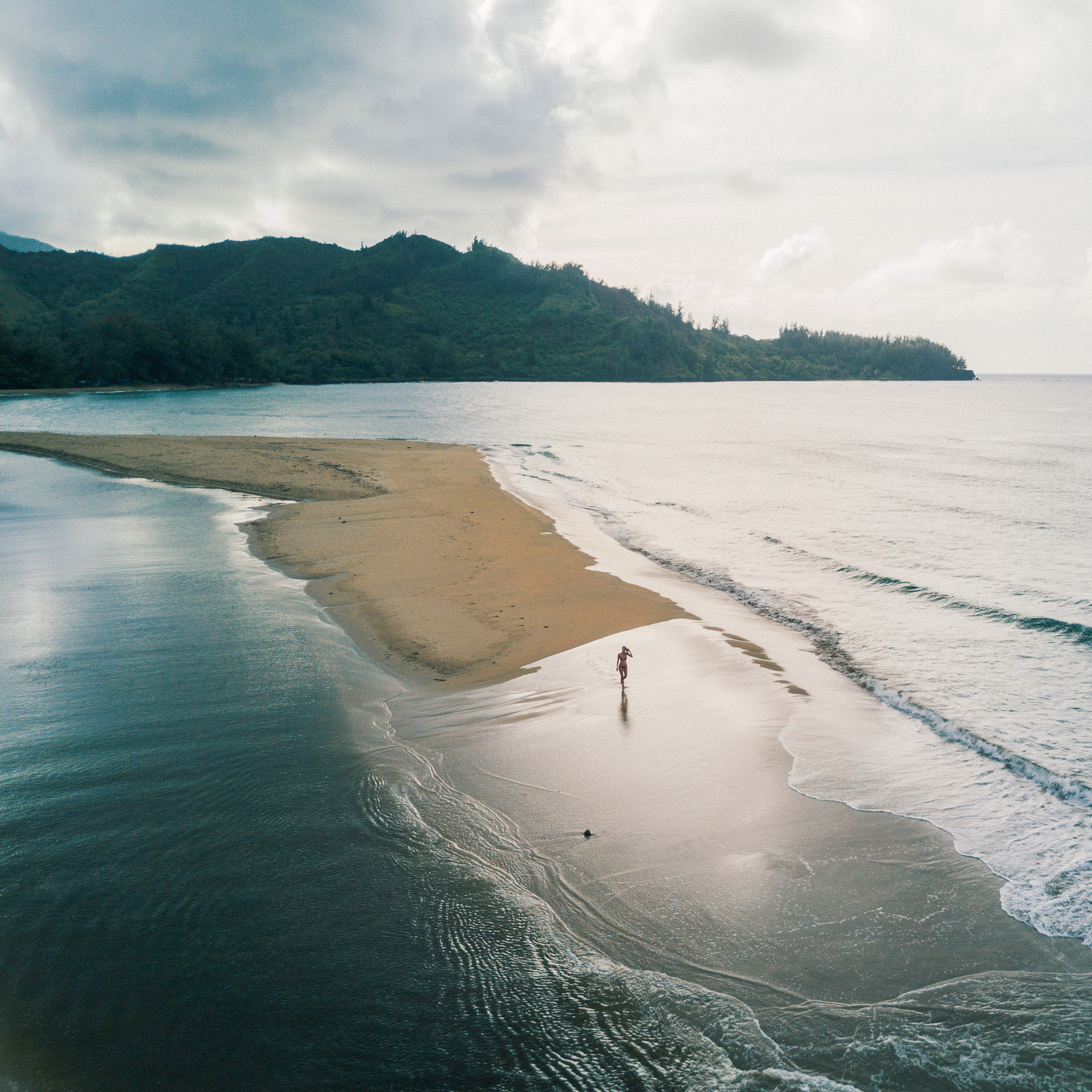 drone shot of hanalei bay beach in kauai hawaii