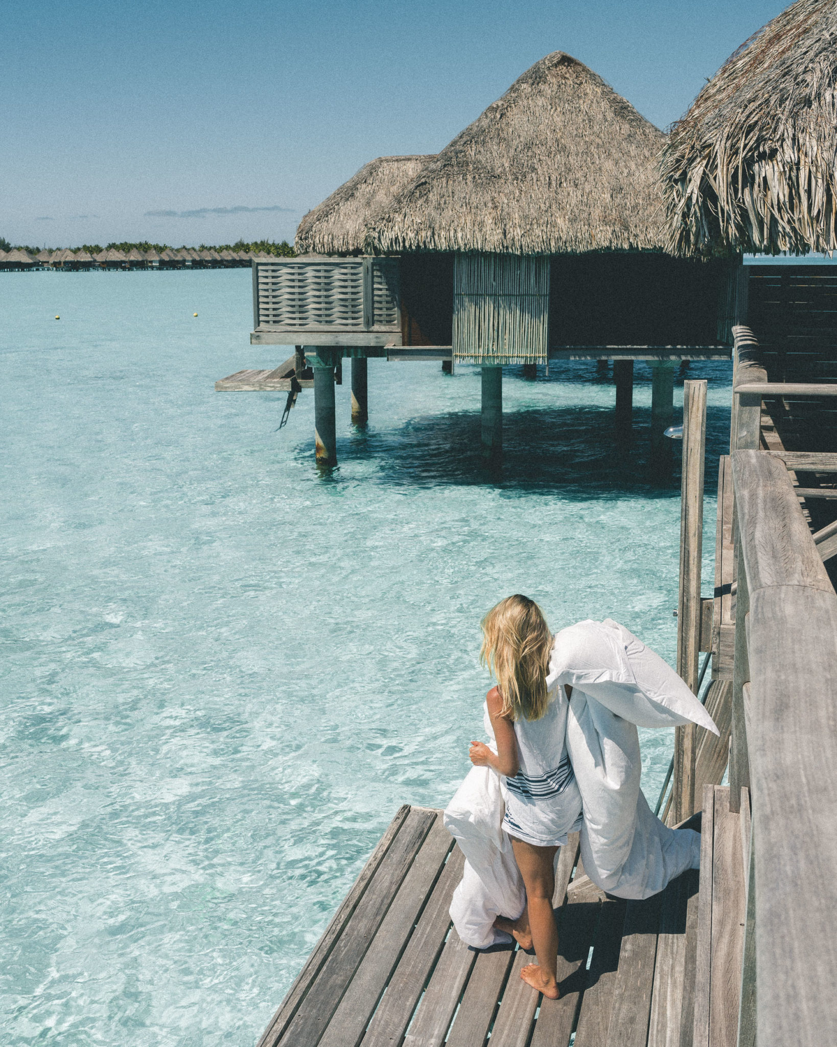 Overwater bungalow at Four Seasons Resort Bora Bora for our honeymoon