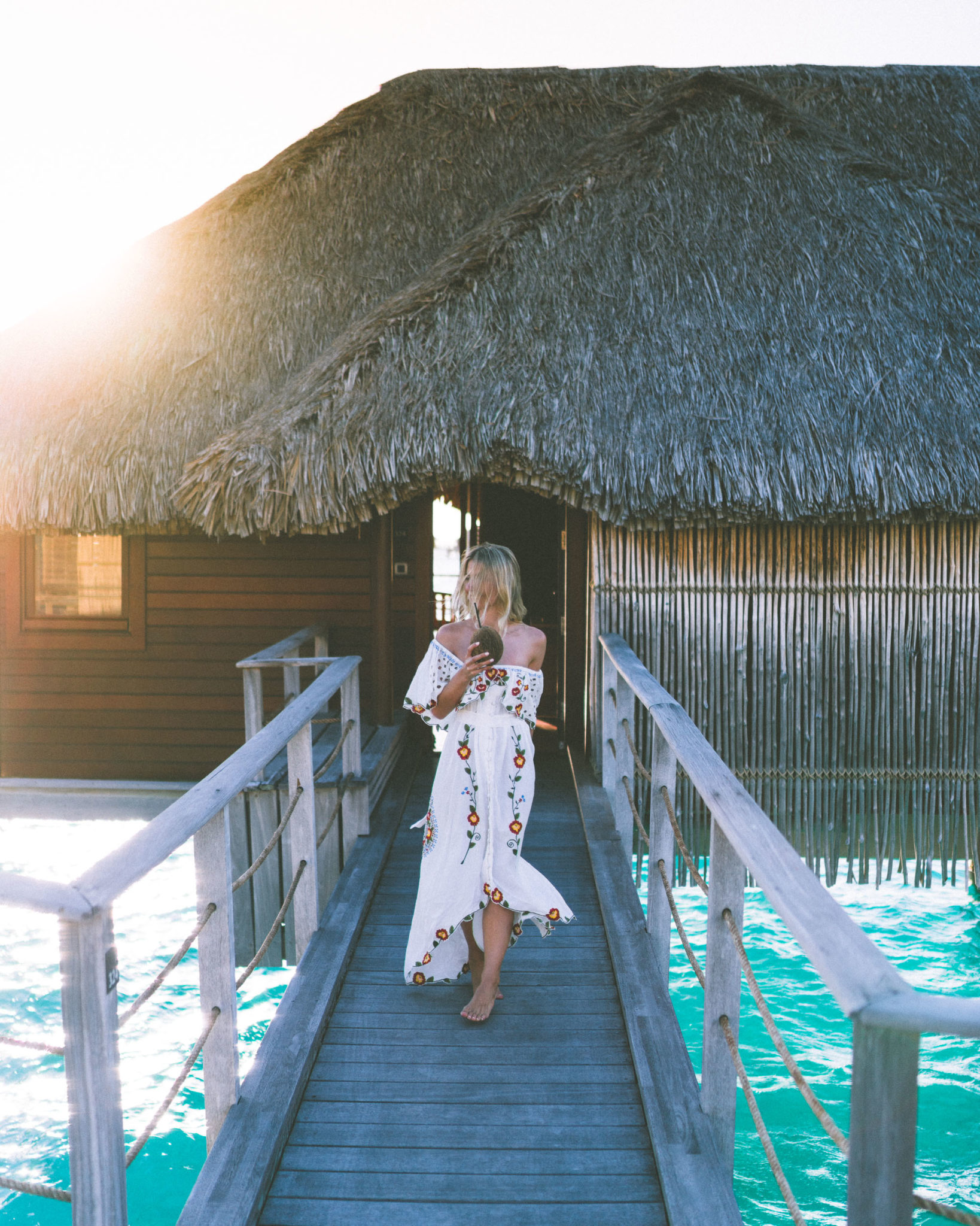 Our overwater bungalow at the four seasons bora bora resort in Tahiti