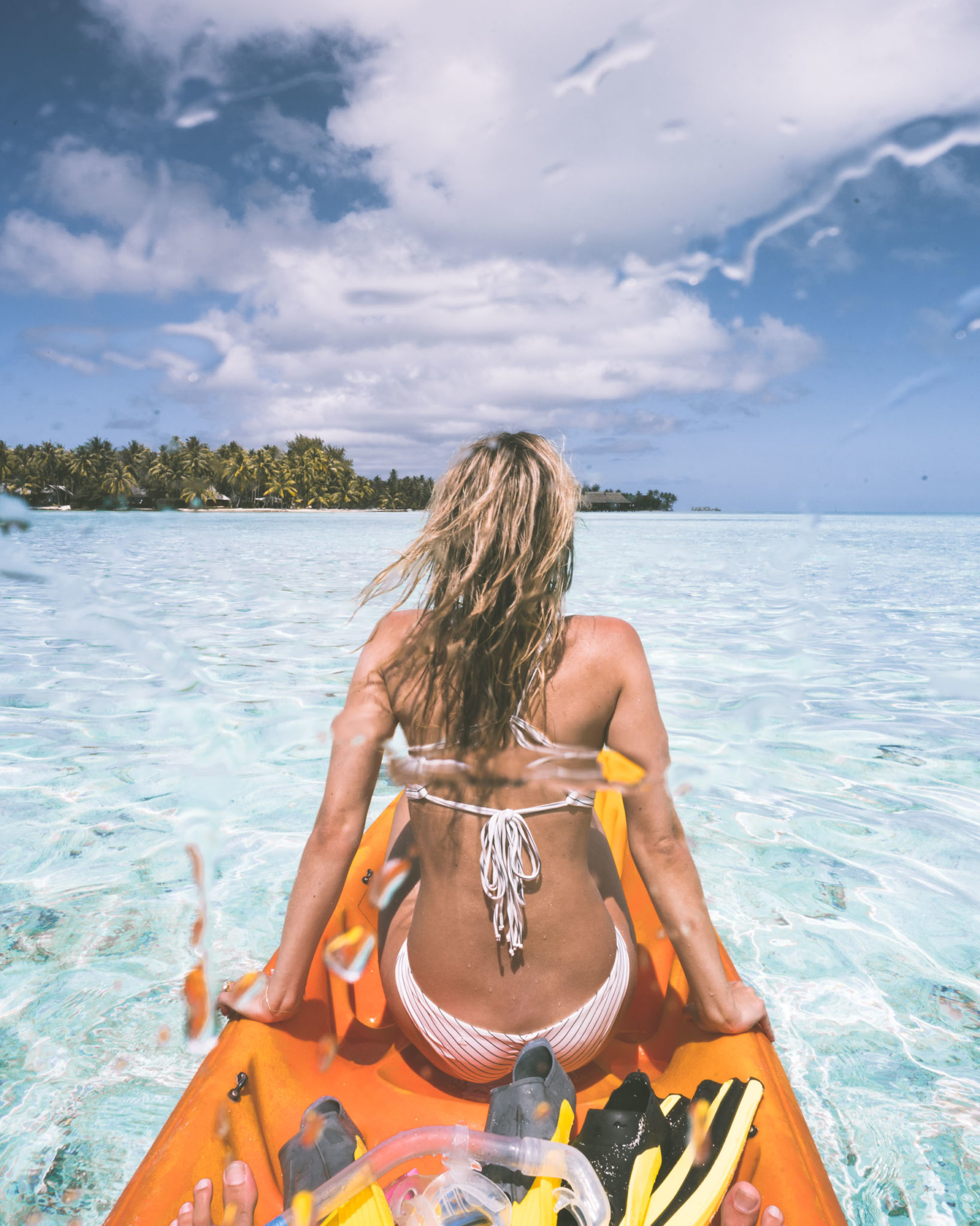 Kayaking at Vahine Island Paradise in Tahiti for our Honeymoon via @finduslost