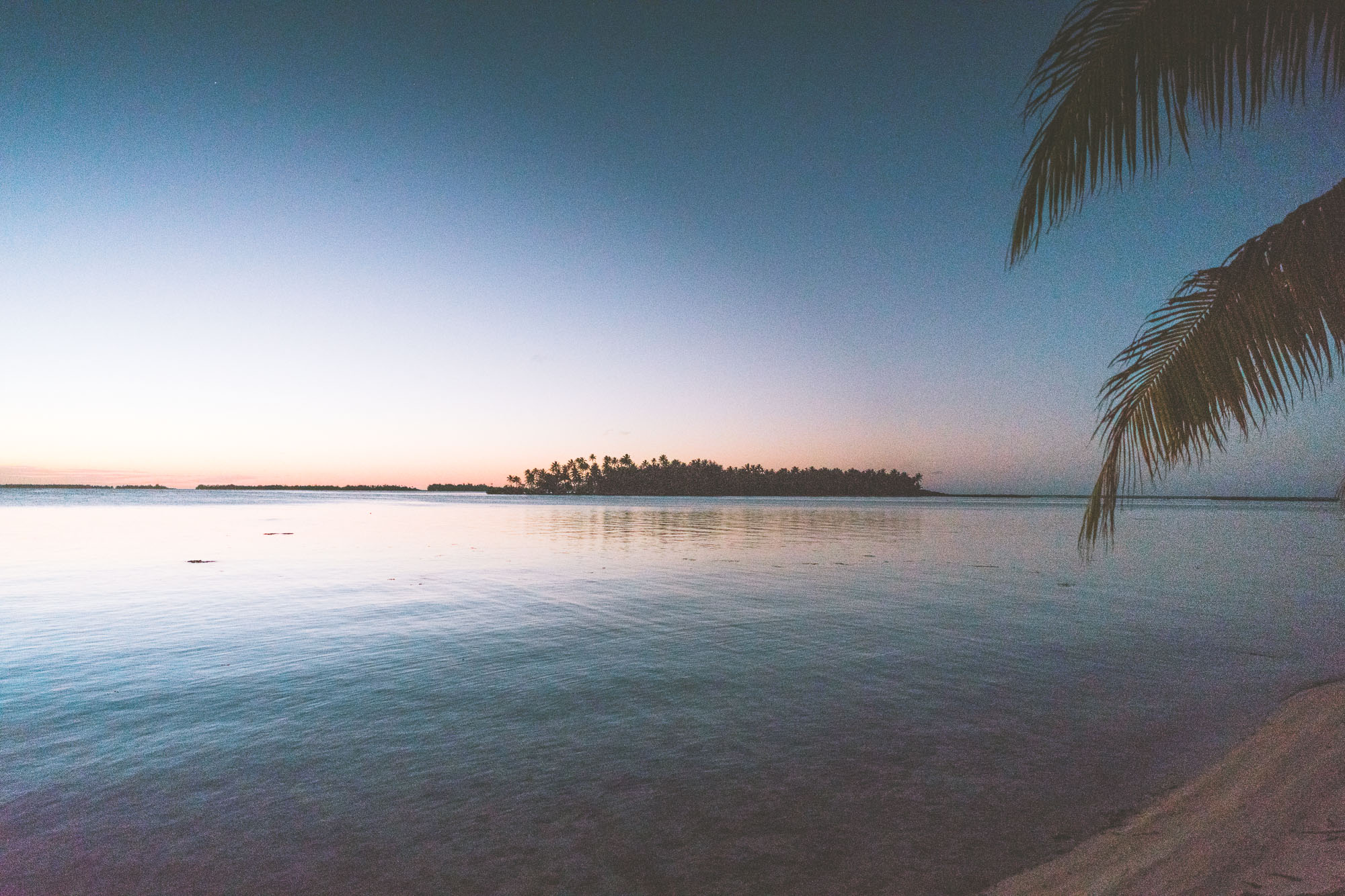 Sunset over the islands at Vahine Island Private Resort in Tahiti via @finduslost