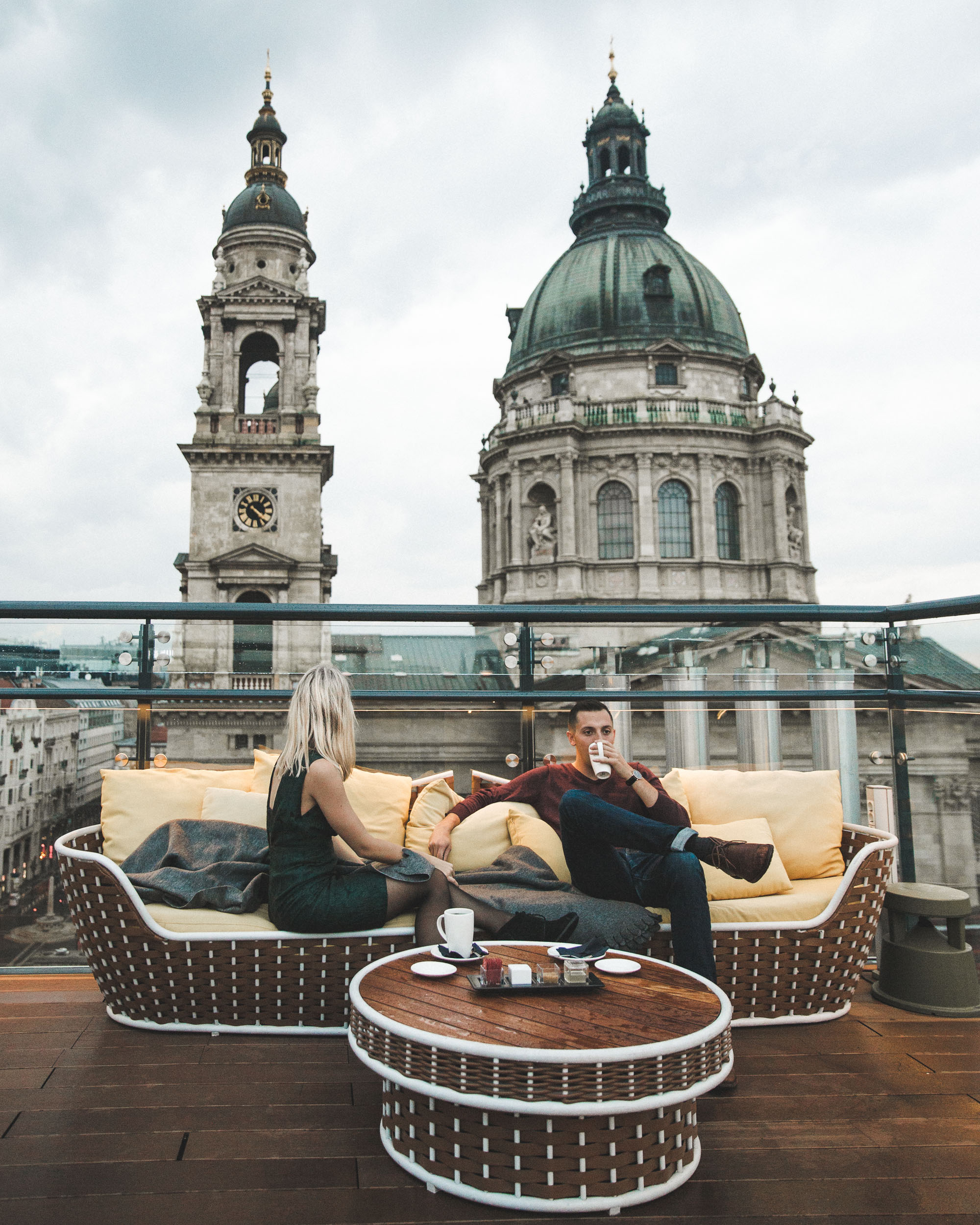 Rooftop views of St Stephen's Basilica in Budapest, Hungary